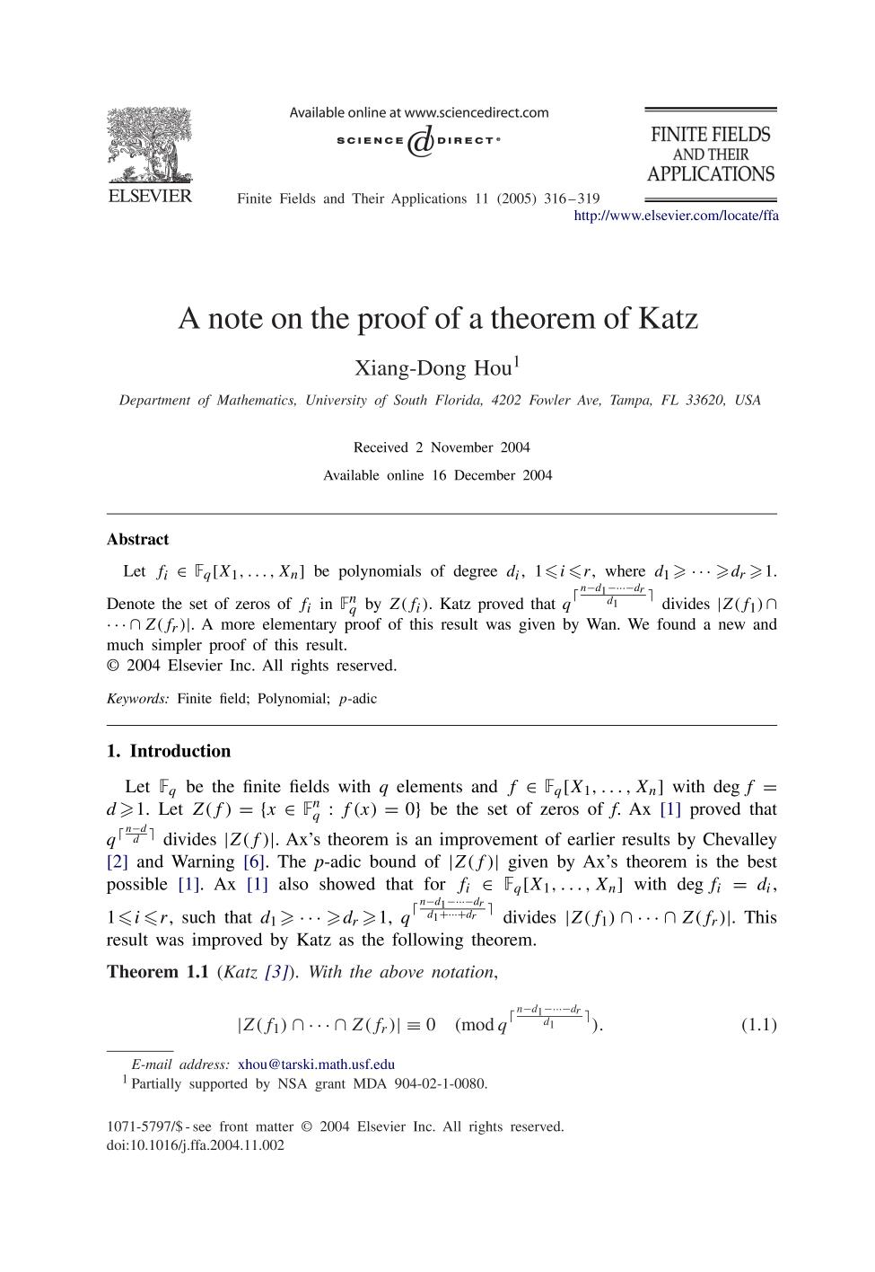 Book cover A note on the proof of a theorem of Katz