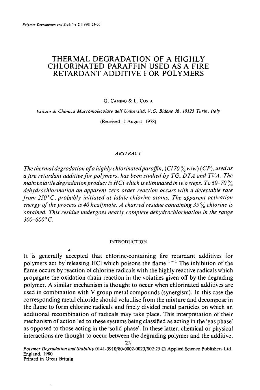 Okładka książki Thermal degradation of a highly chlorinated paraffin used as a fire retardant additive for polymers
