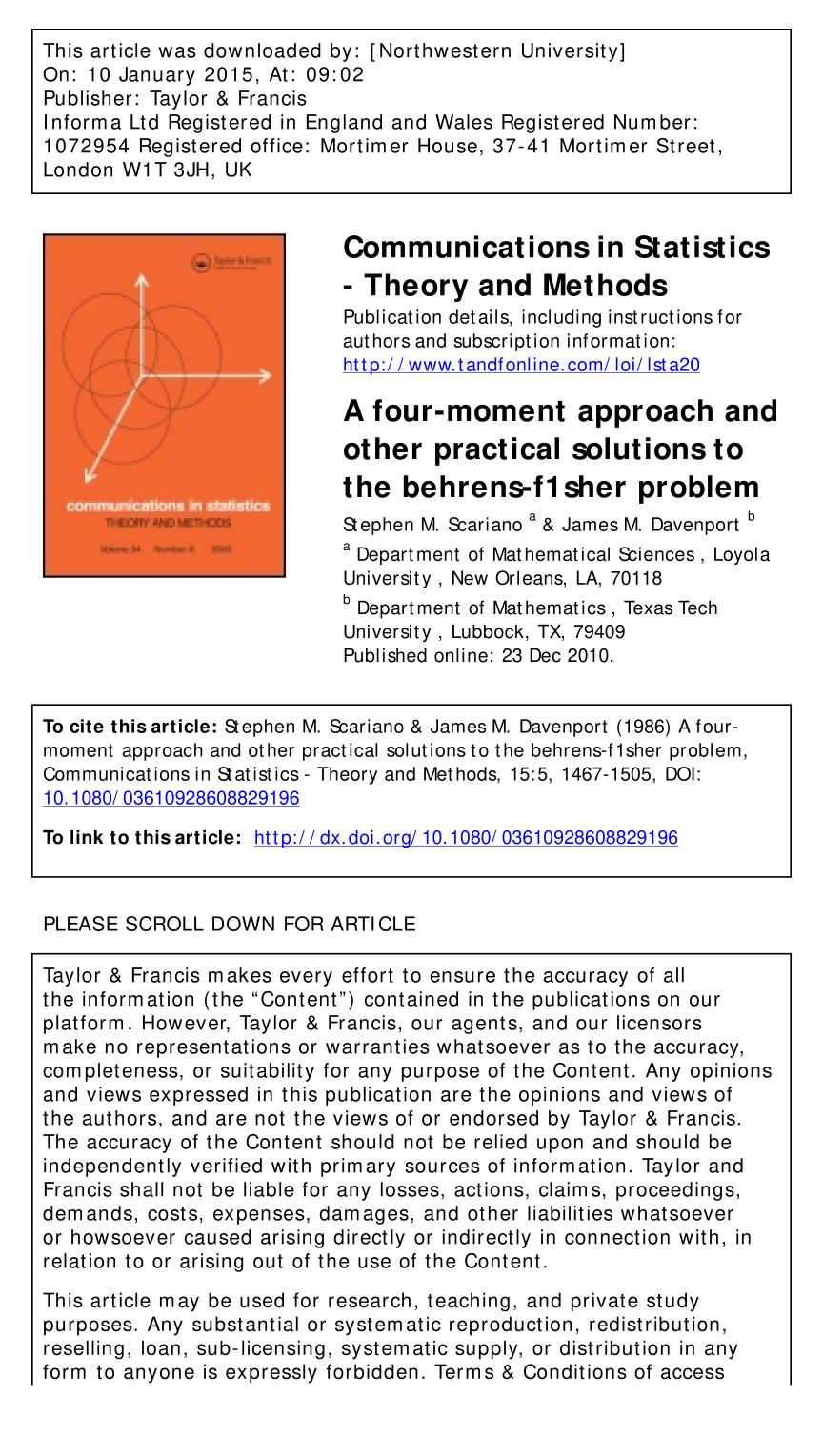 Book cover A four-moment approach and other practical solutions to the behrens-f1sher problem