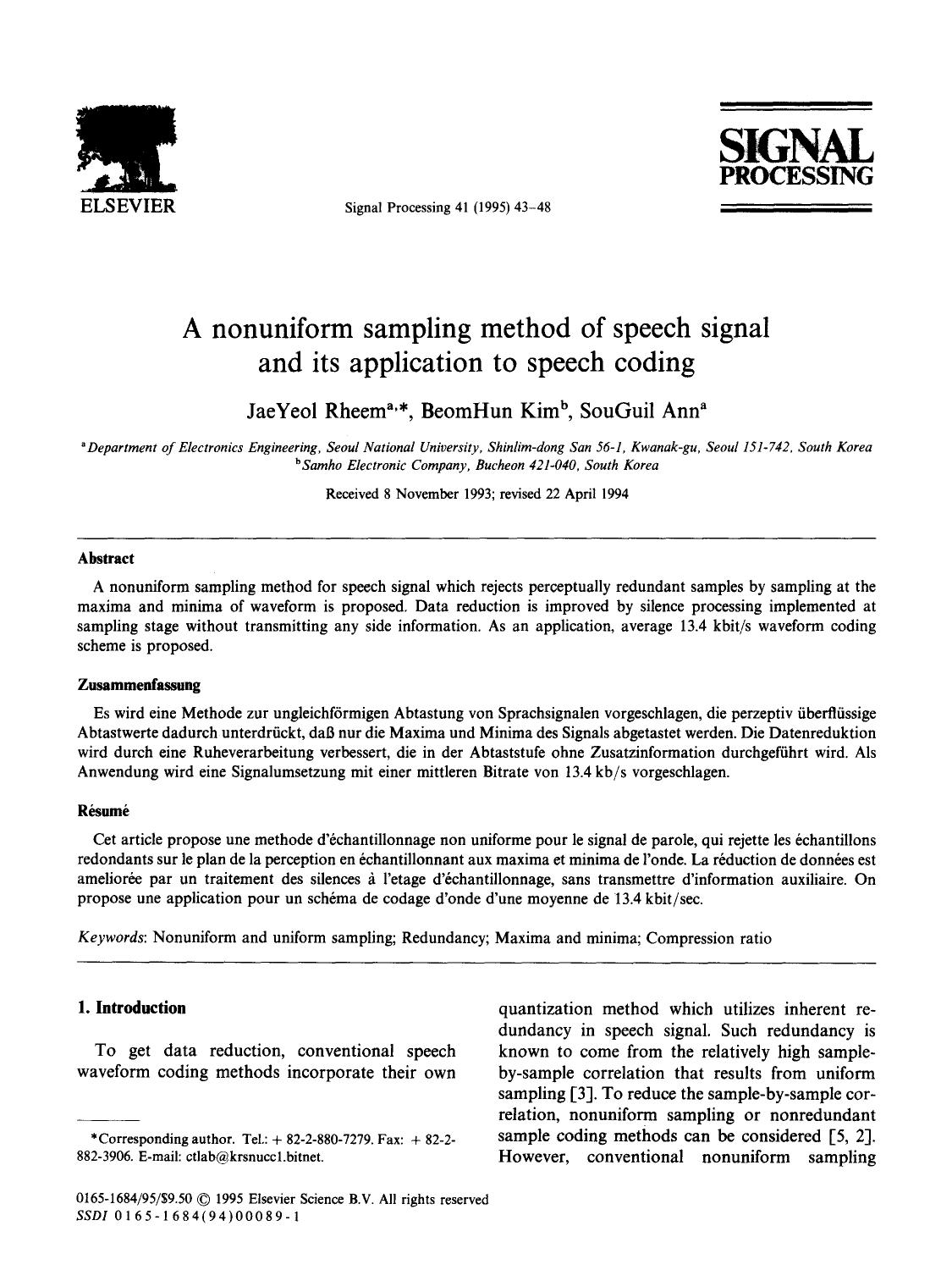 Book cover A nonuniform sampling method of speech signal and its application to speech coding