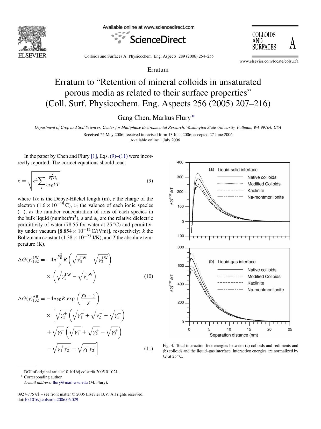 """Обкладинка книги Erratum to """"Retention of mineral colloids in unsaturated porous media as related to their surface properties"""" (Coll. Surf. Physicochem. Eng. Aspects 256 (2005) 207–216)"""