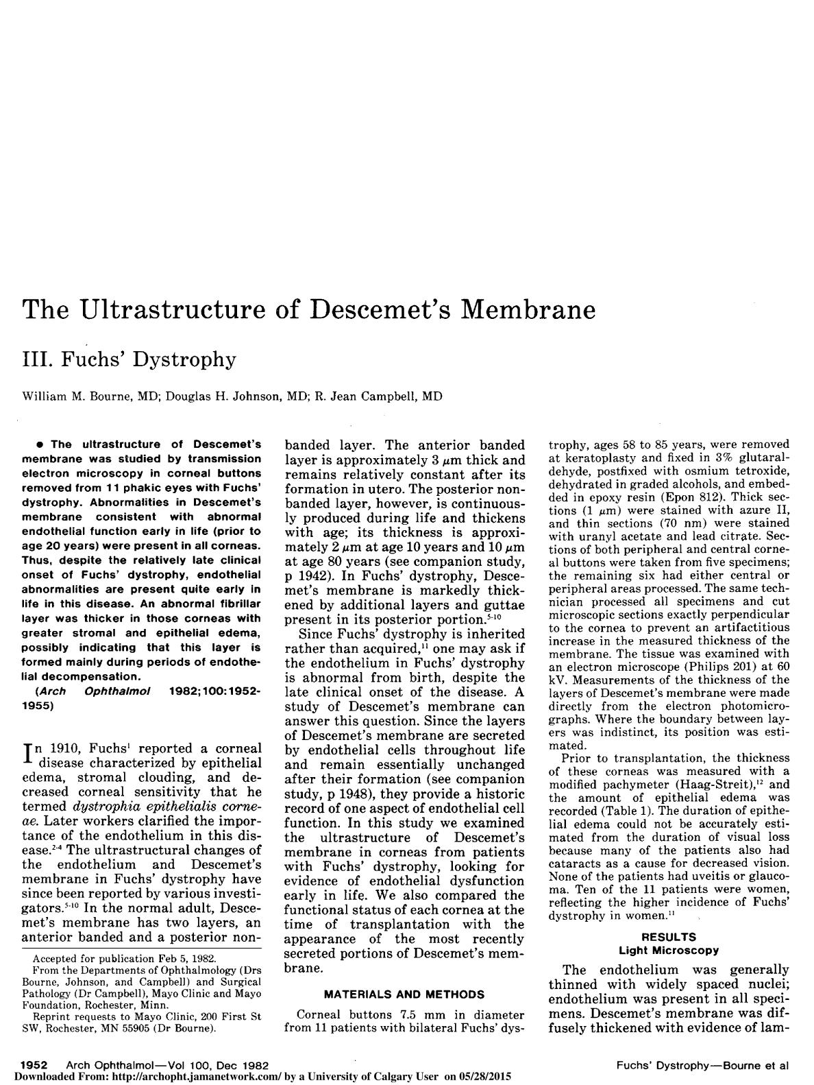 Book cover The Ultrastructure of Descemet's Membrane