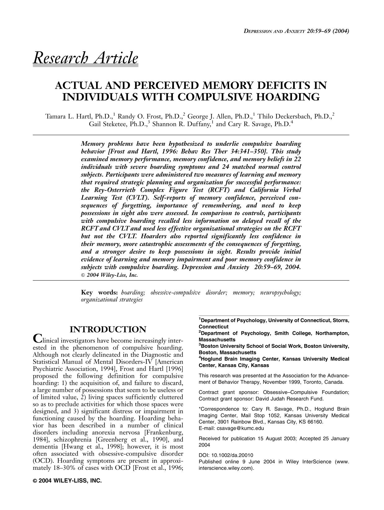 غلاف الكتاب Actual and perceived memory deficits in individuals with compulsive hoarding