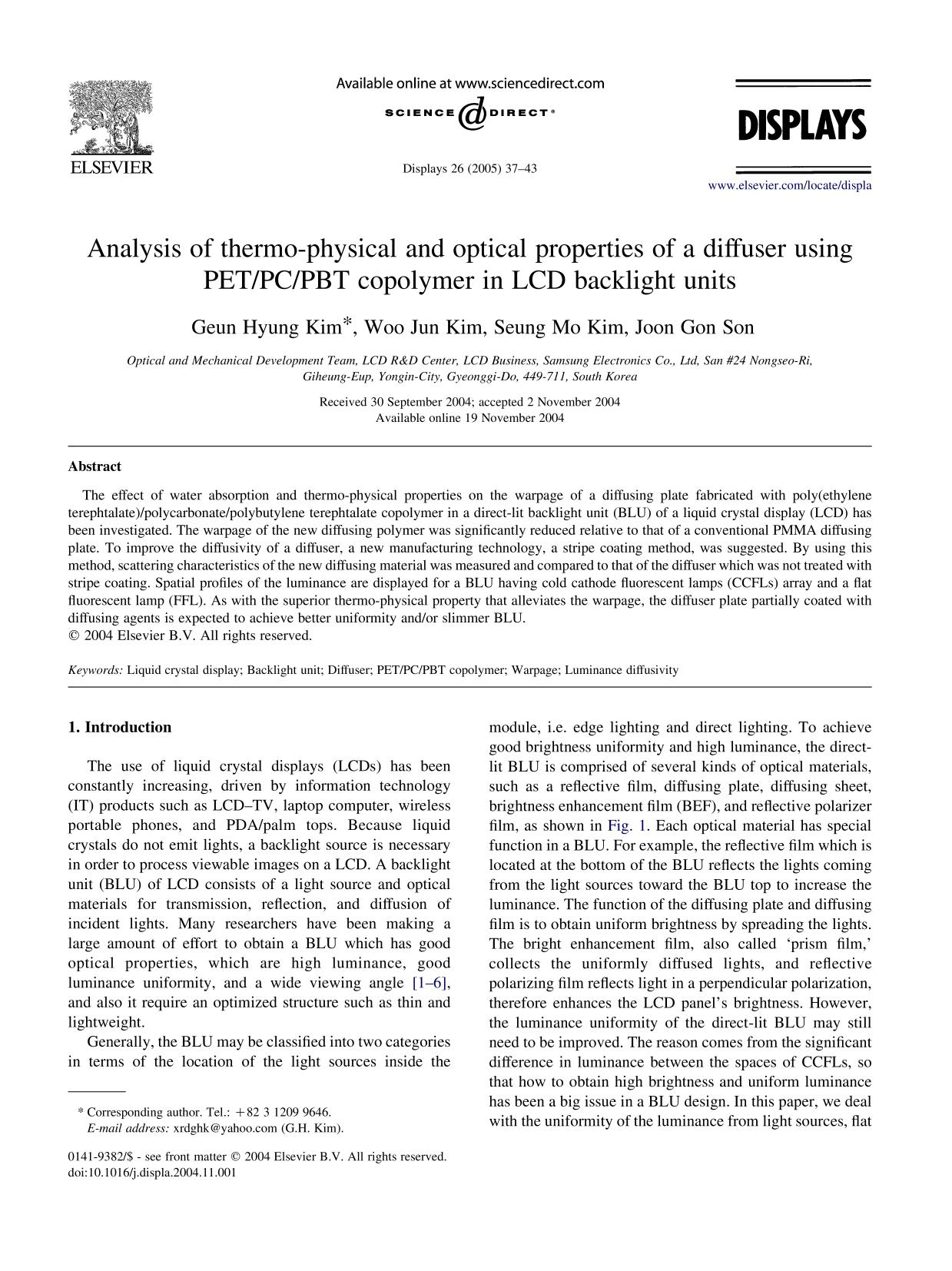 Book cover Analysis of thermo-physical and optical properties of a diffuser using PET/PC/PBT copolymer in LCD backlight units