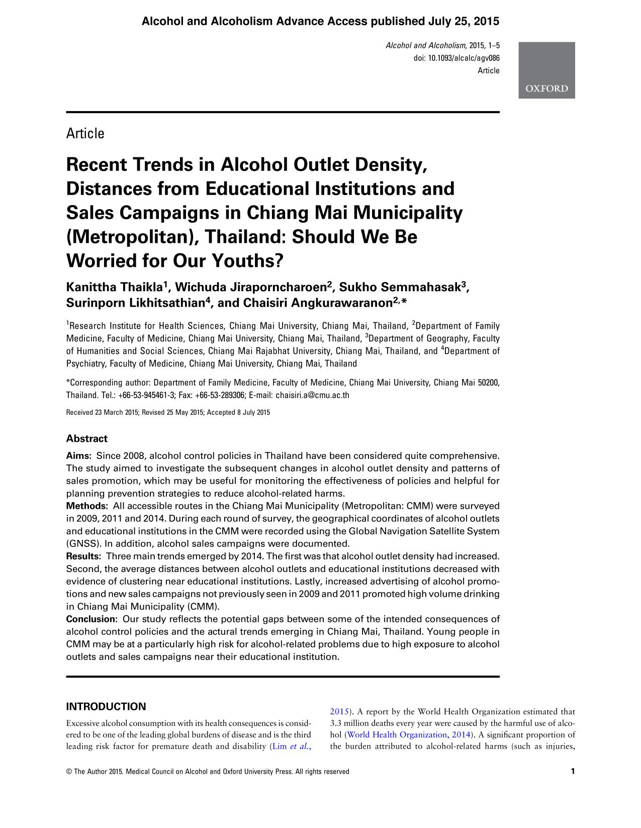 Book cover Recent Trends in Alcohol Outlet Density, Distances from Educational Institutions and Sales Campaigns in Chiang Mai Municipality (Metropolitan), Thailand: Should We Be Worried for Our Youths?
