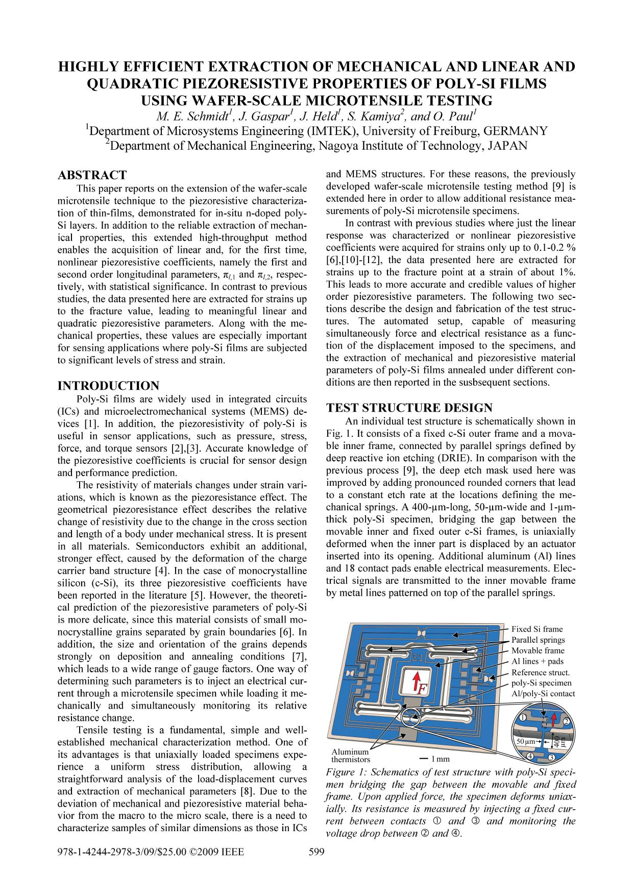 Book cover  [IEEE 2009 IEEE 22nd International Conference on Micro Electro Mechanical Systems (MEMS) - Sorrento, Italy (2009.01.25-2009.01.29)] 2009 IEEE 22nd International Conference on Micro Electro Mechanical Systems - Highly Efficient Extraction of Mechanical and Linear and Quadratic Piezoresistive Properties of Poly-Si Films using Wafer-Scale Microtensile Testing