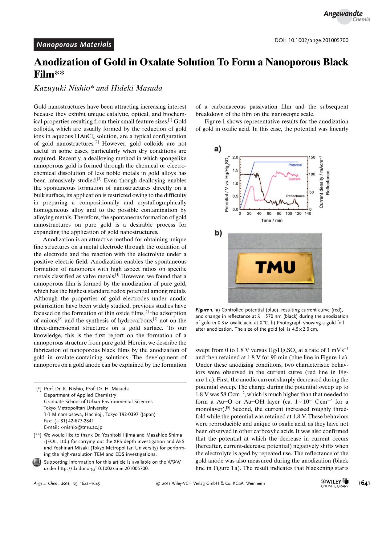Couverture Anodization of Gold in Oxalate Solution To Form a Nanoporous Black Film