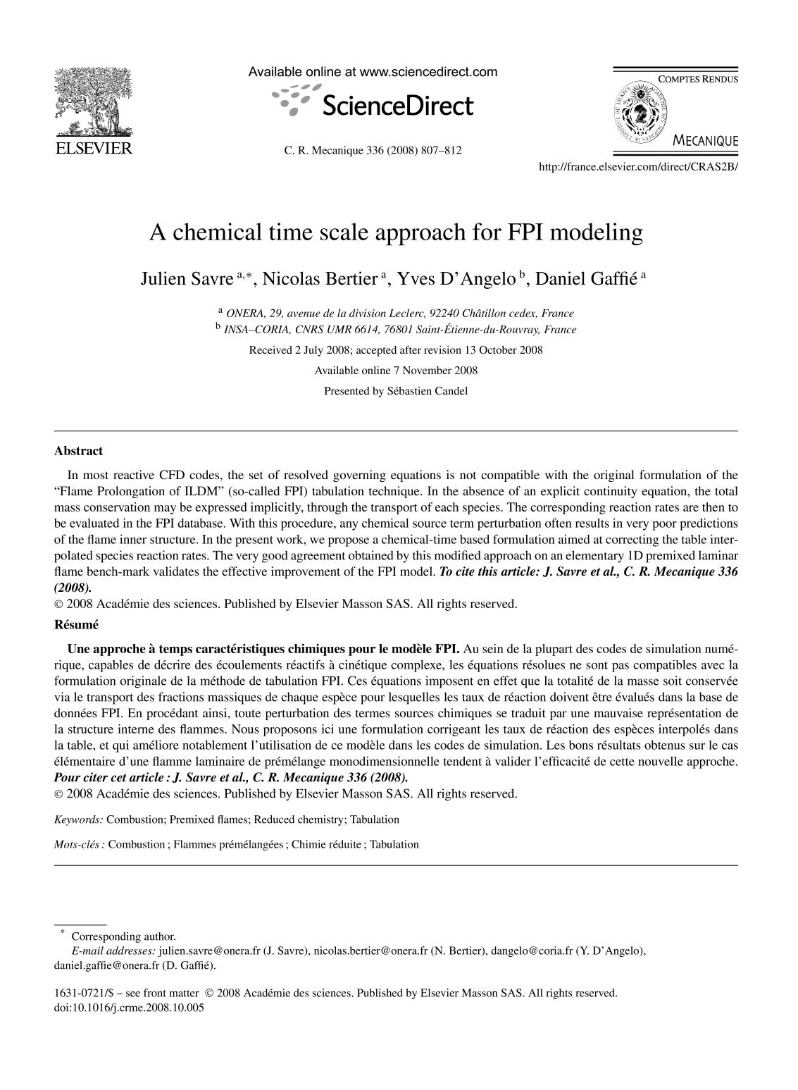 Book cover A chemical time scale approach for FPI modeling
