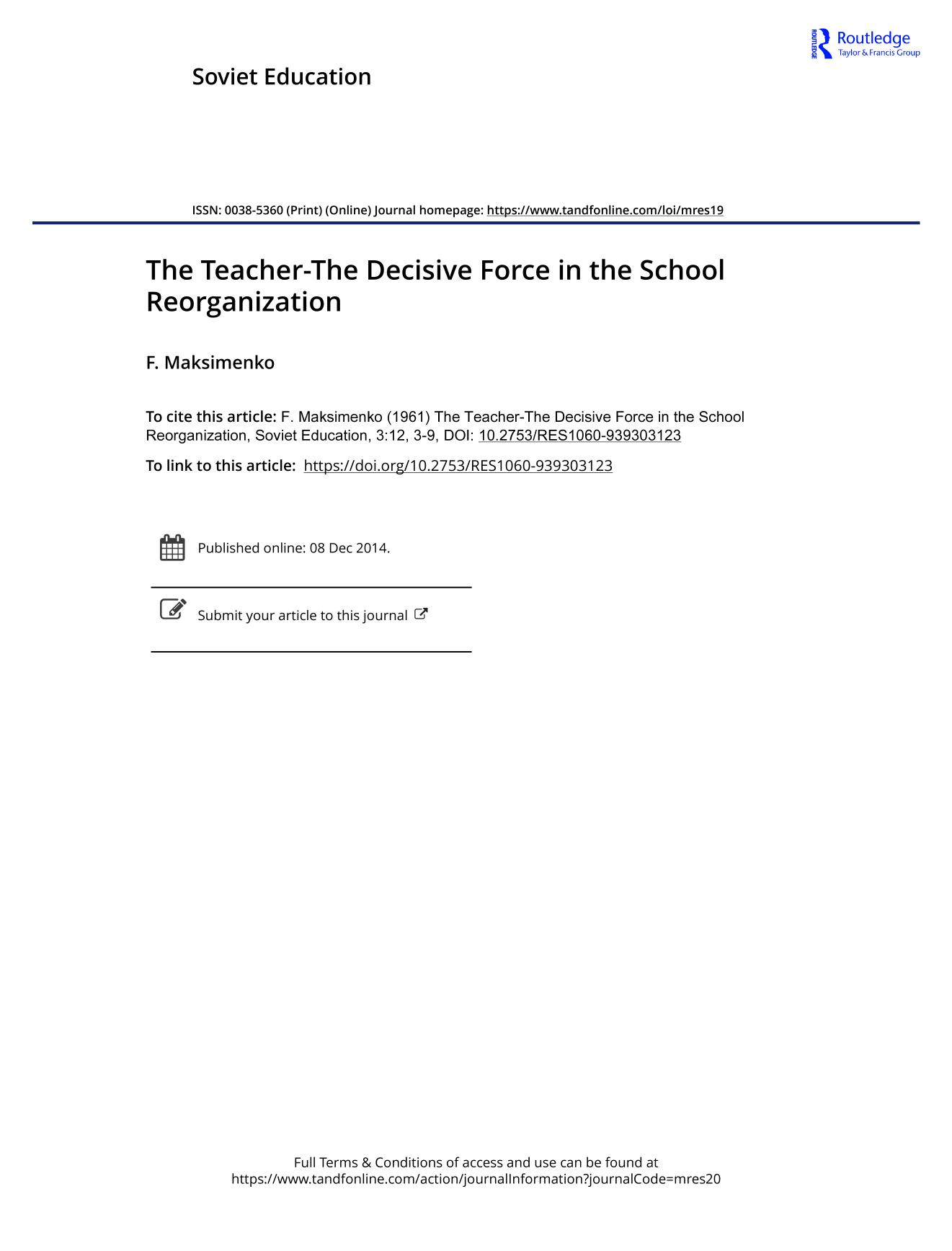 Book cover The Teacher-The Decisive Force in the School Reorganization