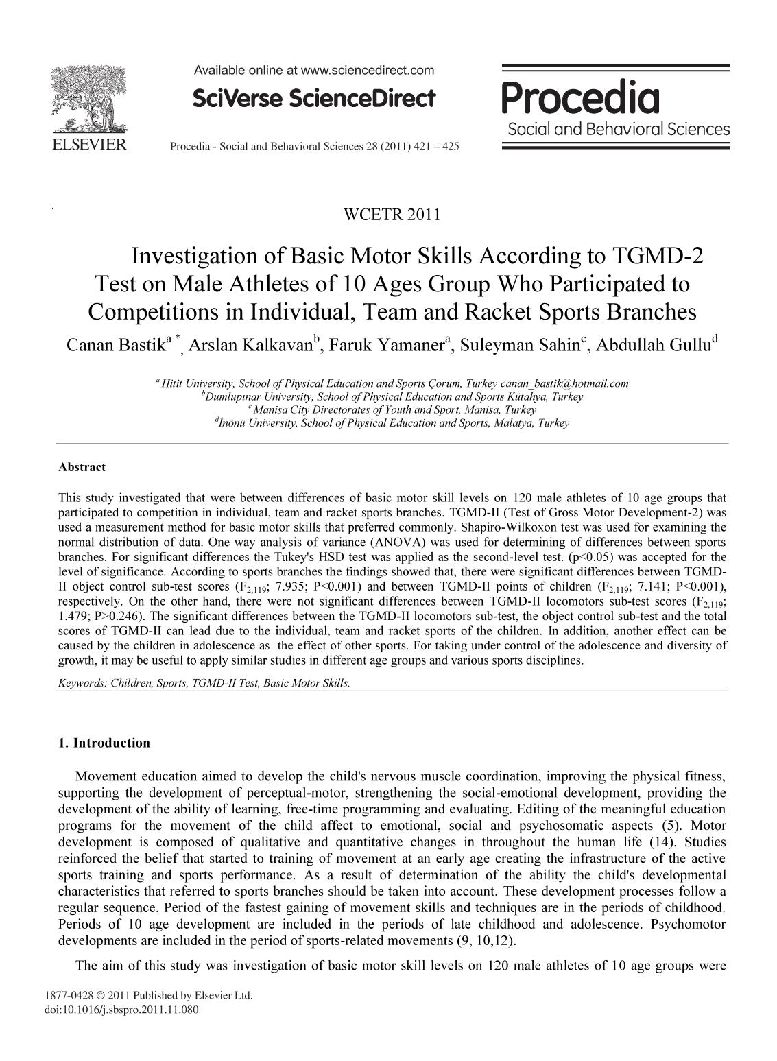 Book cover Investigation of Basic Motor Skills According to TGMD-2 Test on Male Athletes of 10 Ages Group Who Participated to Competitions in Individual, Team and Racket Sports Branches
