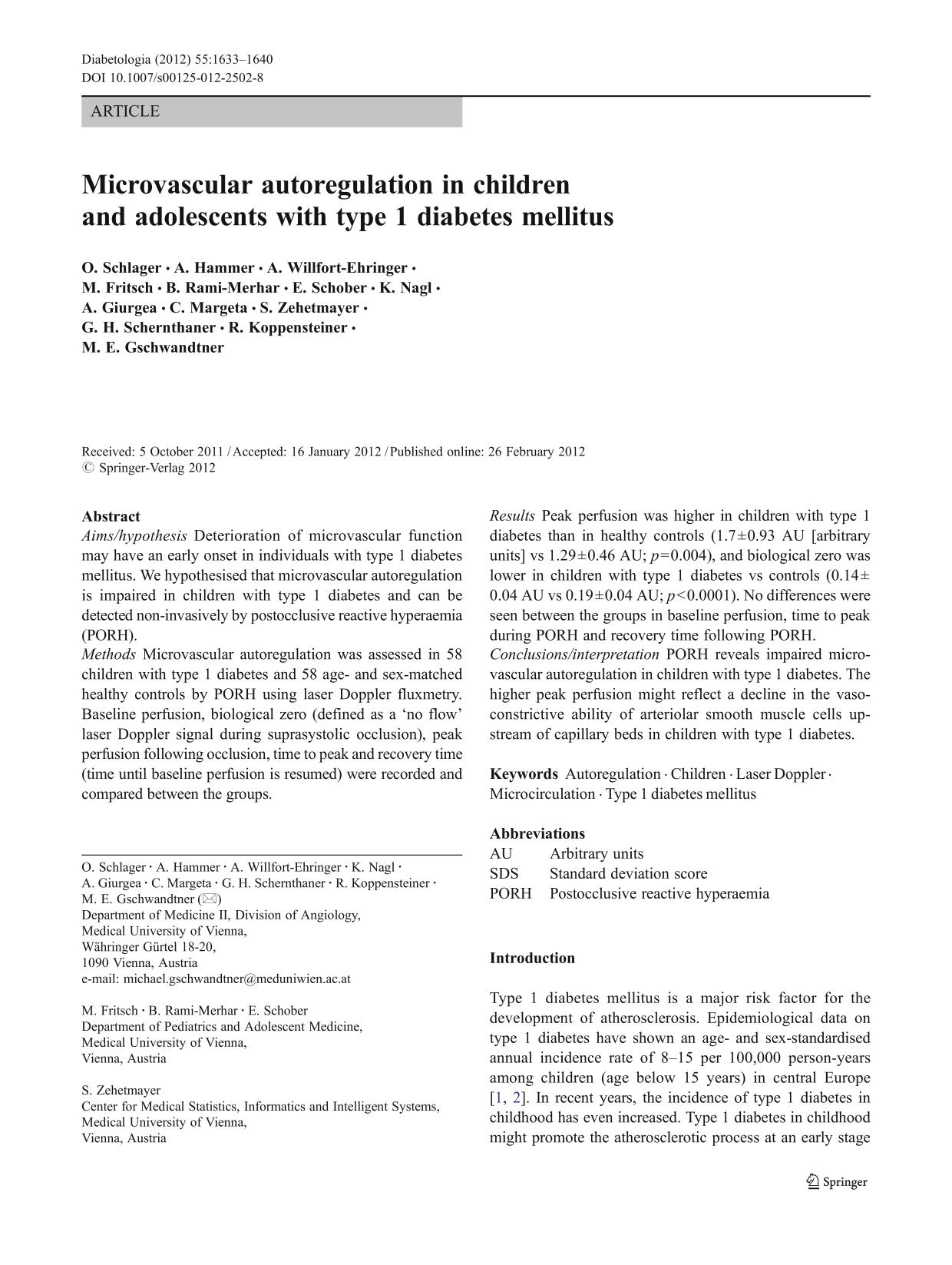 Book cover Microvascular autoregulation in children and adolescents with type 1 diabetes mellitus