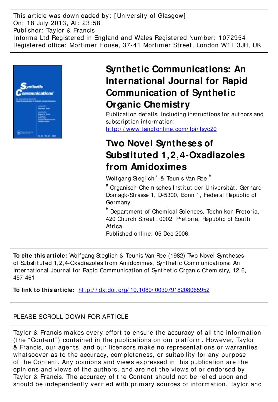 Book cover Two Novel Syntheses of Substituted 1,2,4-Oxadiazoles from Amidoximes