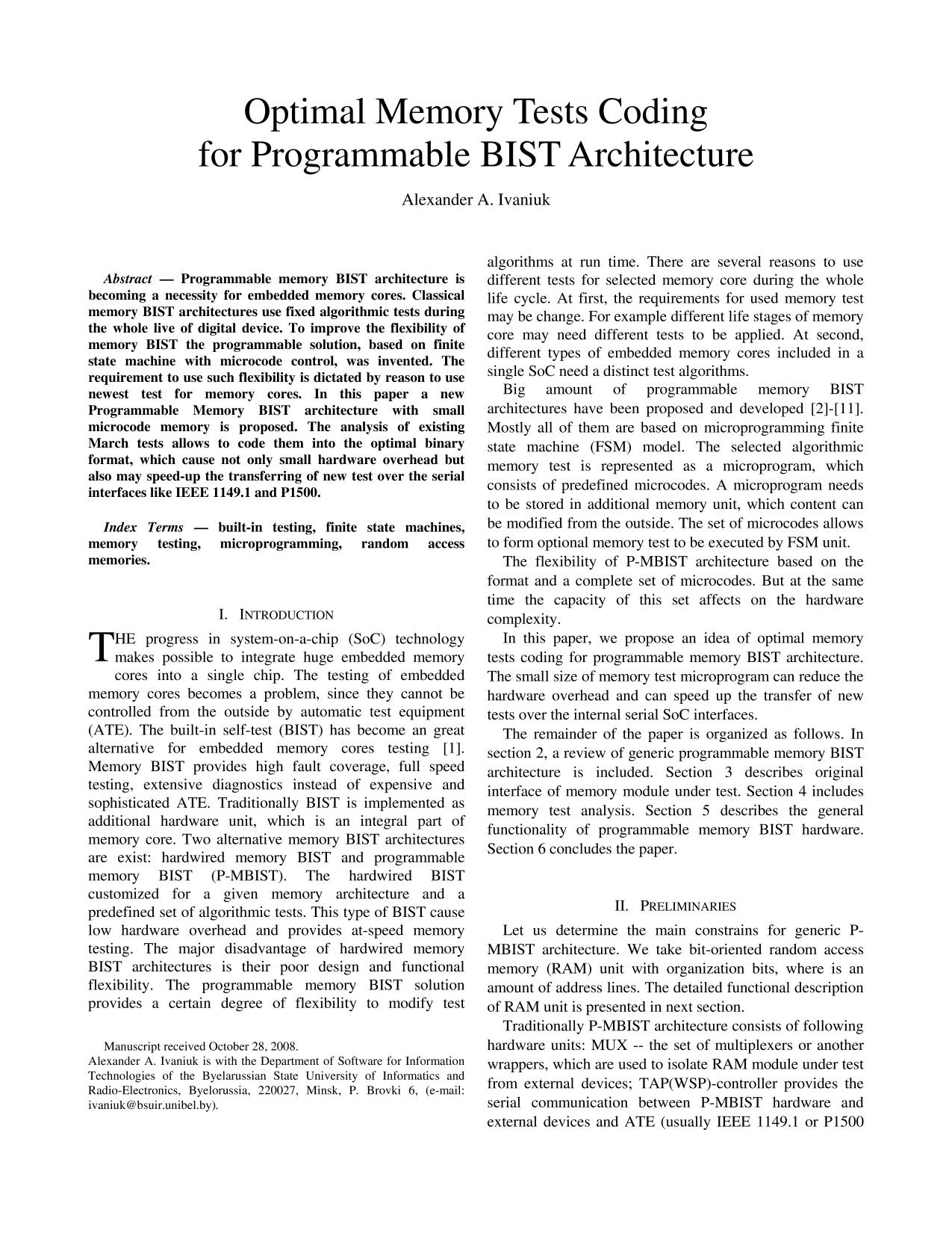 Book cover Optimal Memory Tests Coding for Programmable BIST Architecture