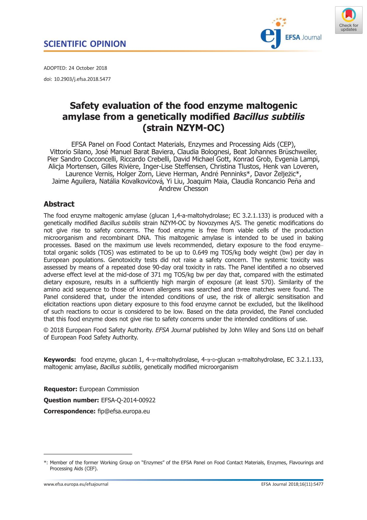Book cover Safety evaluation of the food enzyme maltogenic amylase from a genetically modified Bacillus subtilis (strain NZYM‐OC)