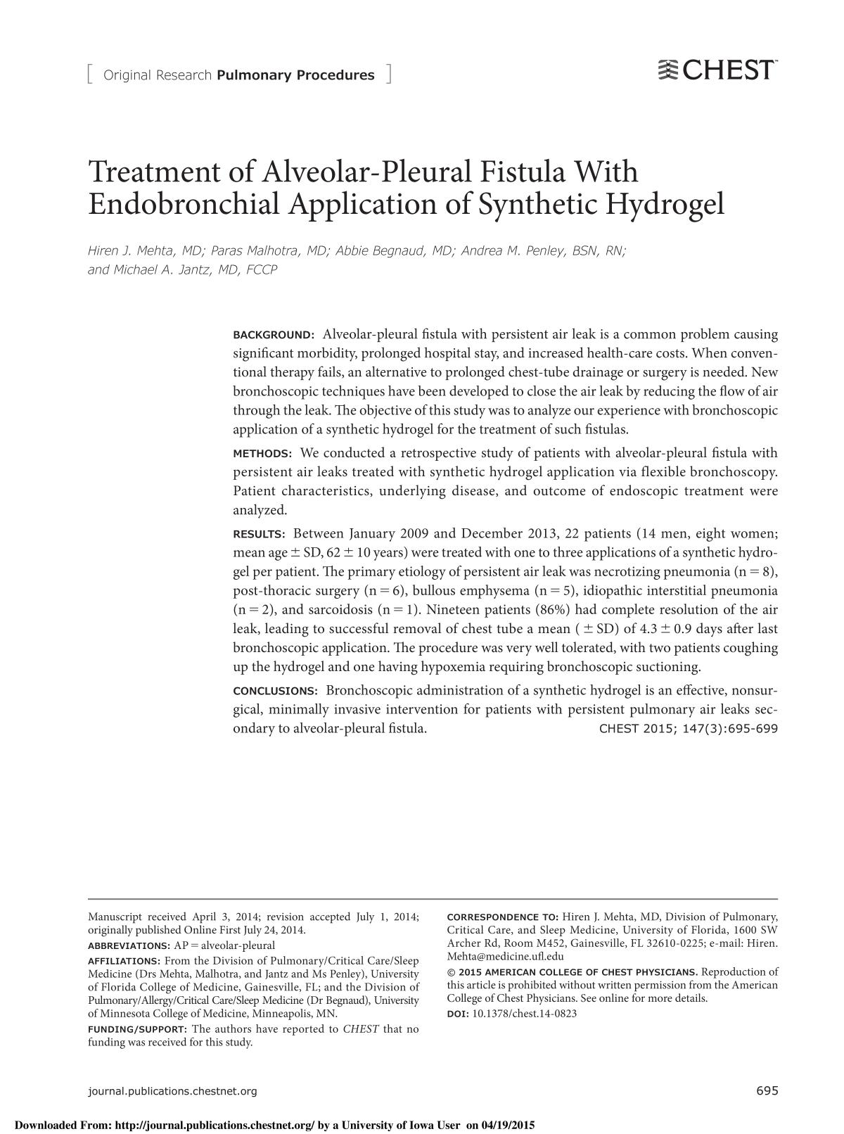 Book cover Treatment of Alveolar-Pleural Fistula With Endobronchial Application of Synthetic Hydrogel