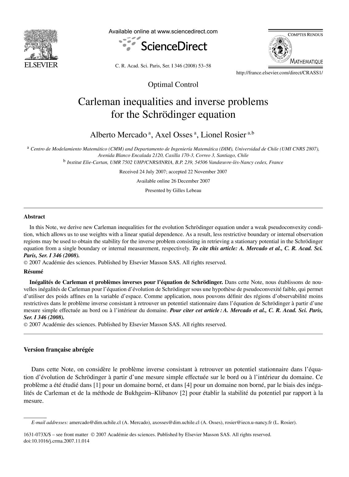 Book cover Carleman inequalities and inverse problems for the Schrödinger equation