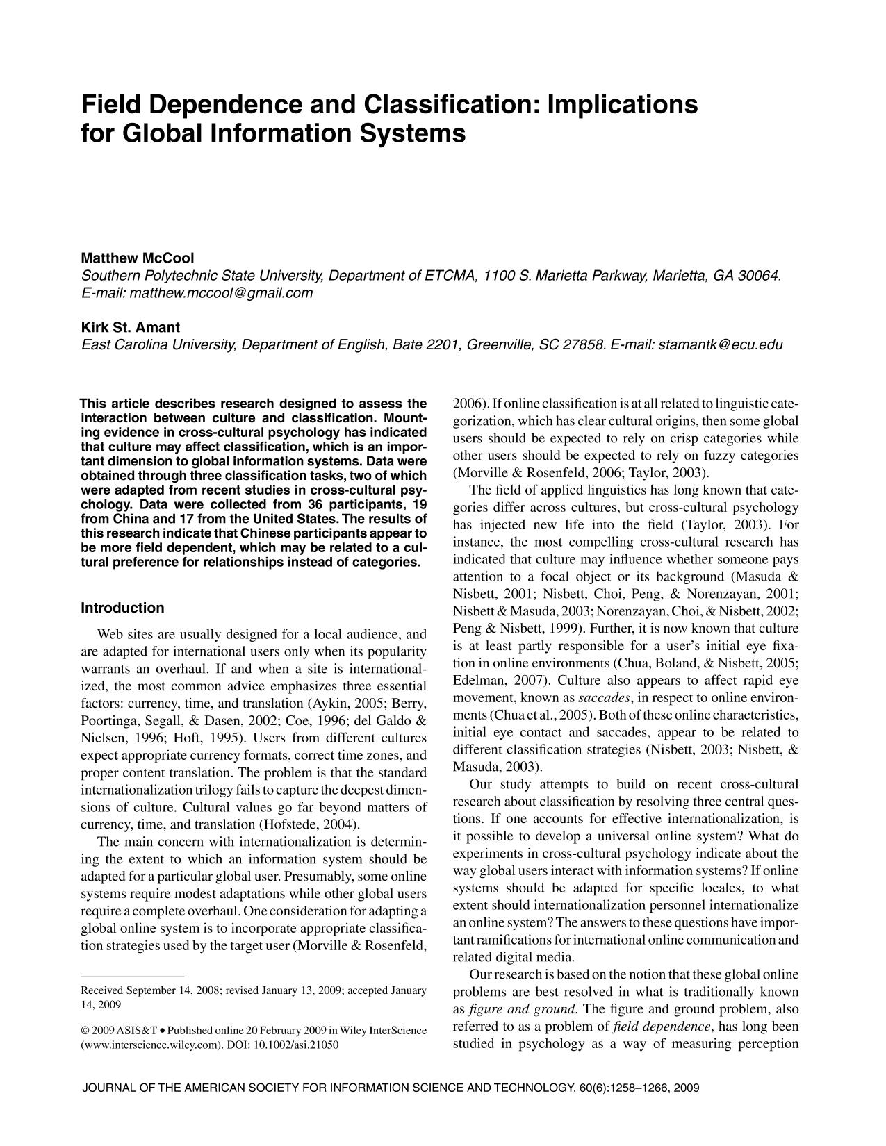 Kover buku Field dependence and classification: Implications for global information systems