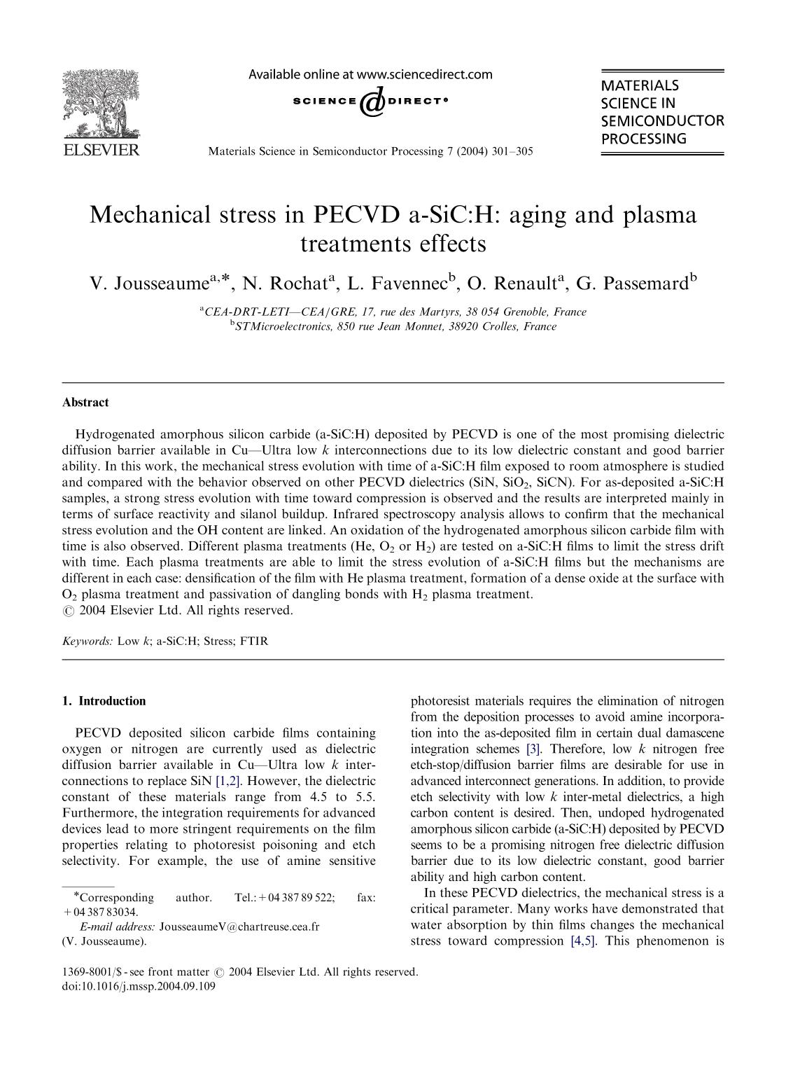 Book cover Mechanical stress in PECVD a-SiC:H: aging and plasma treatments effects