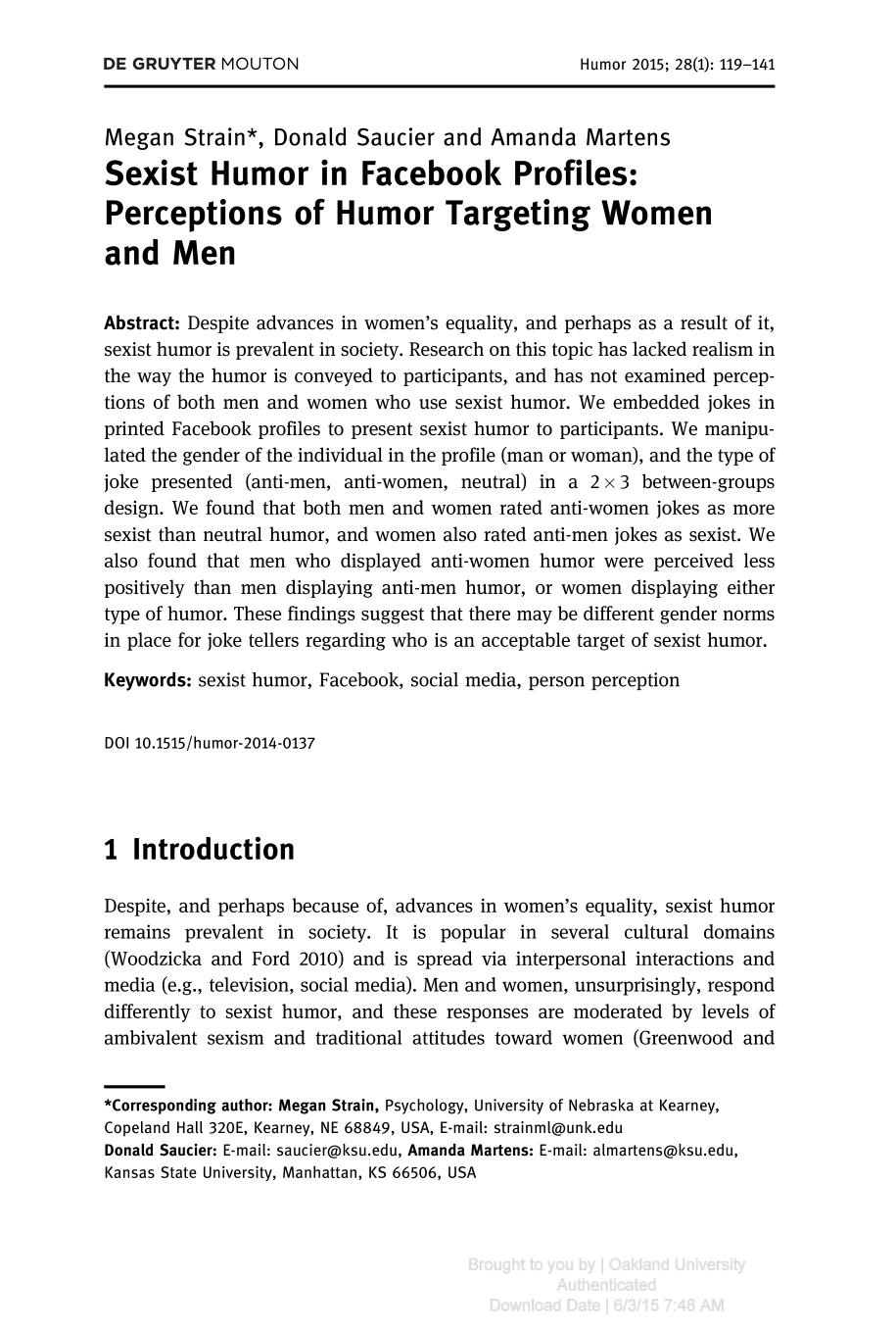 Book cover Sexist Humor in Facebook Profiles: Perceptions of Humor Targeting Women and Men