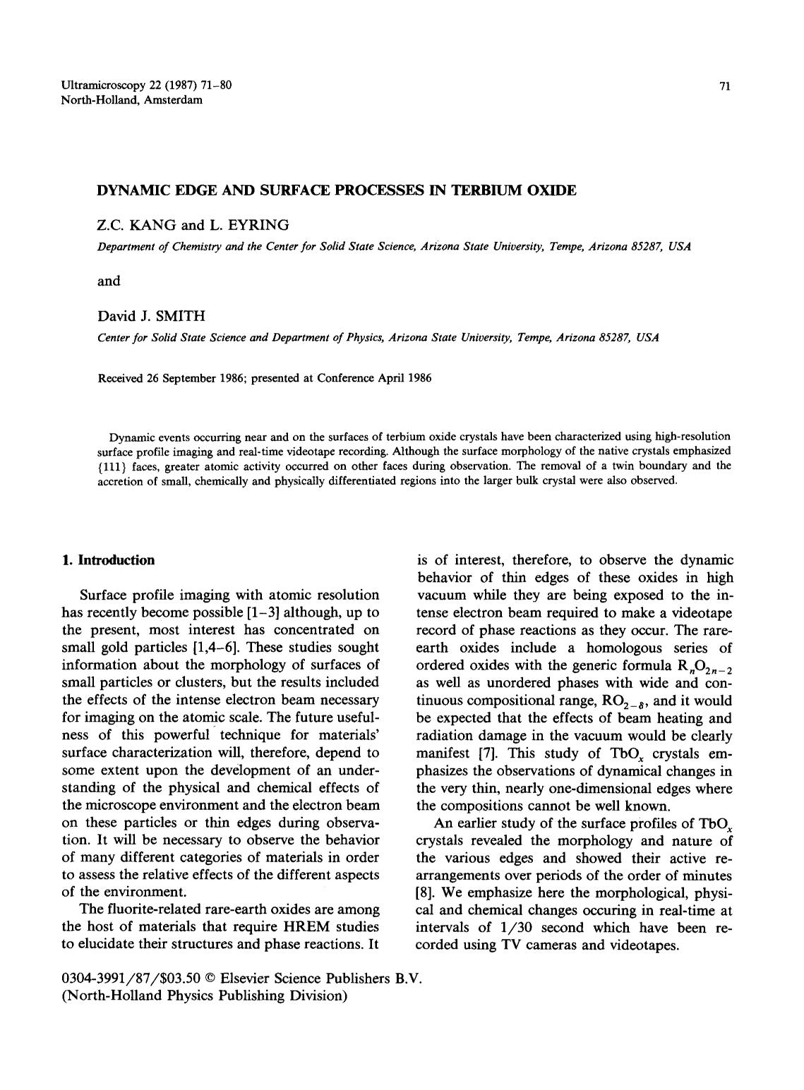 Kover buku Dynamic edge and surface processes in terbium oxide