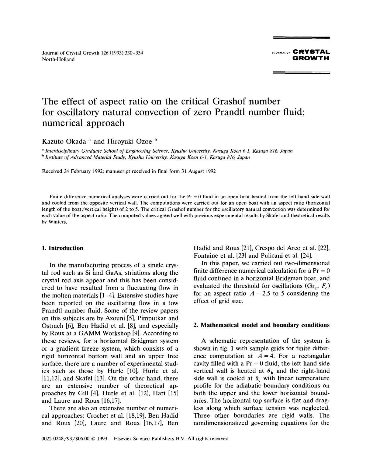 Book cover The effect of aspect ratio on the critical Grashof number for oscillatory natural convection of zero Prandtl number fluid; numerical approach