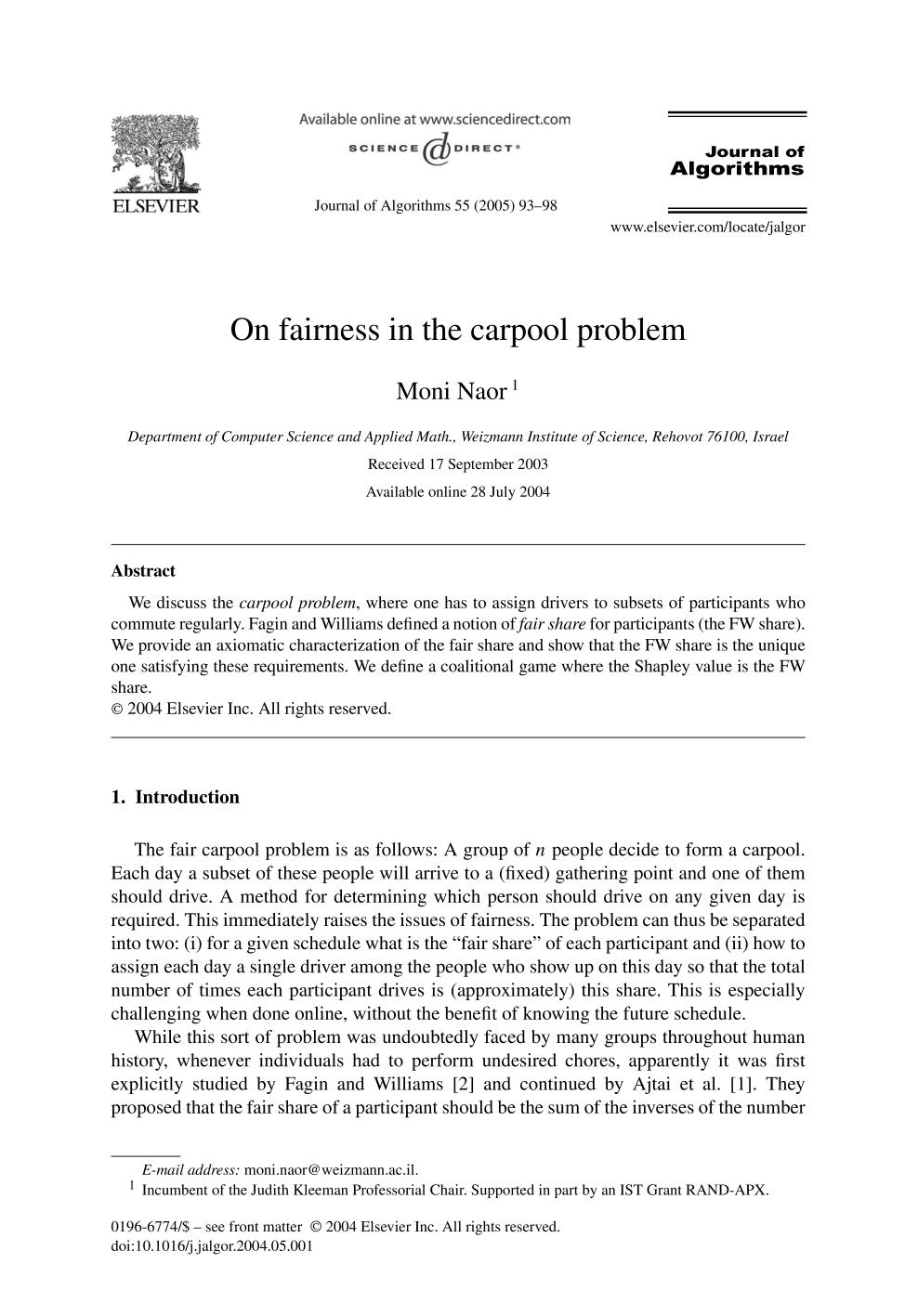 Book cover On fairness in the carpool problem