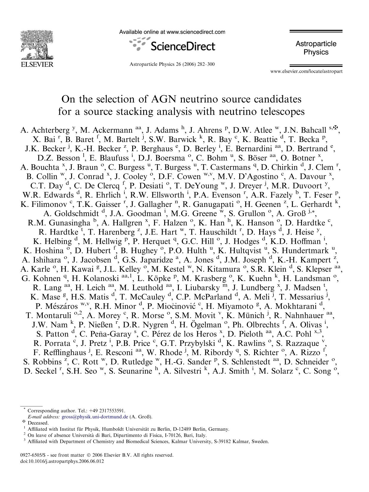 Book cover On the selection of AGN neutrino source candidates for a source stacking analysis with neutrino telescopes
