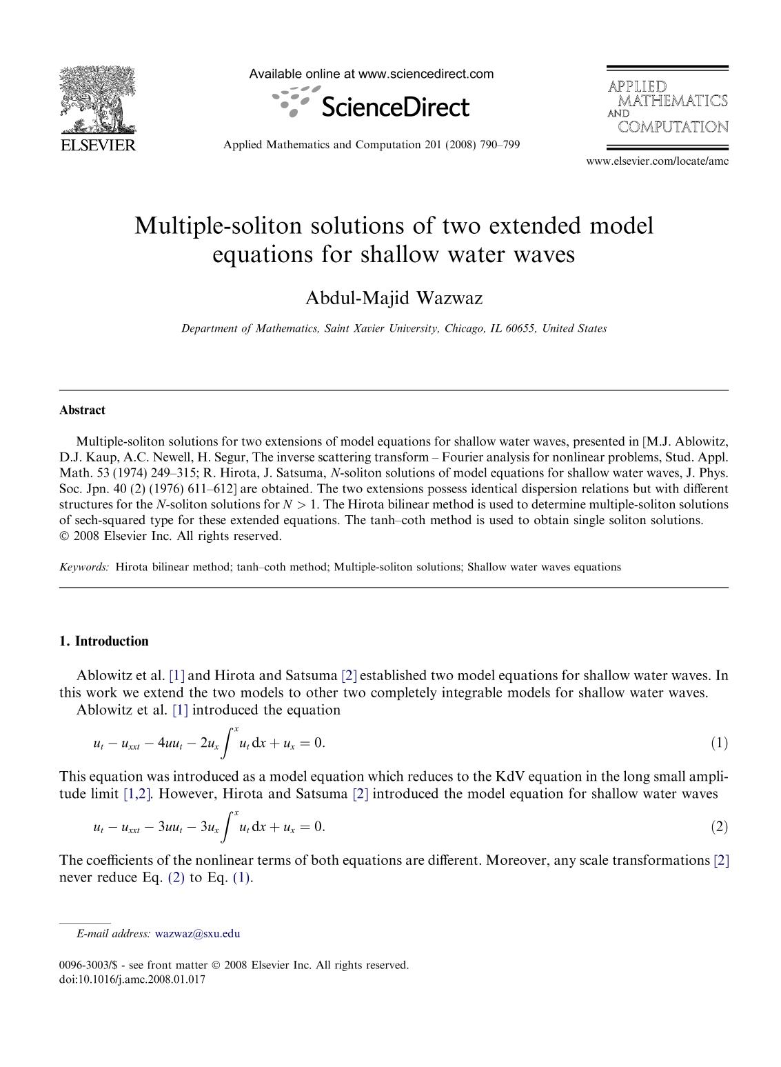 Book cover Multiple-soliton solutions of two extended model equations for shallow water waves