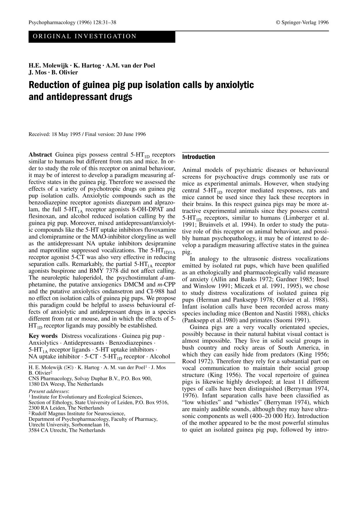 Book cover Reduction of guinea pig pup isolation calls by anxiolytic and antidepressant drugs