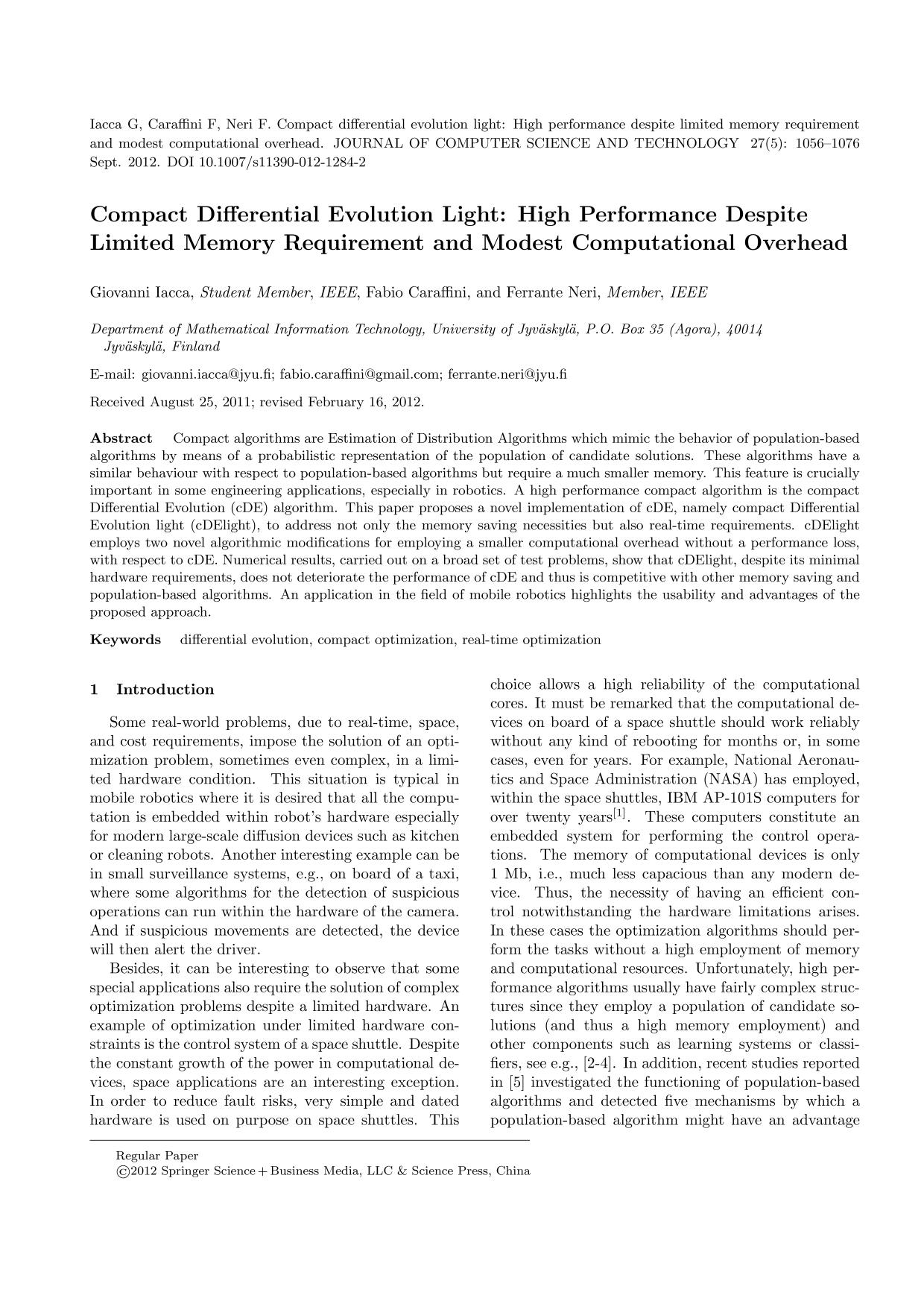 Book cover Compact Differential Evolution Light: High Performance Despite Limited Memory Requirement and Modest Computational Overhead