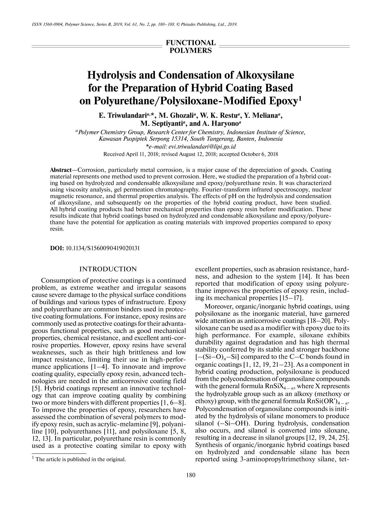 Book cover Hydrolysis and Condensation of Alkoxysilane for the Preparation of Hybrid Coating Based on Polyurethane/Polysiloxane-Modified Epoxy