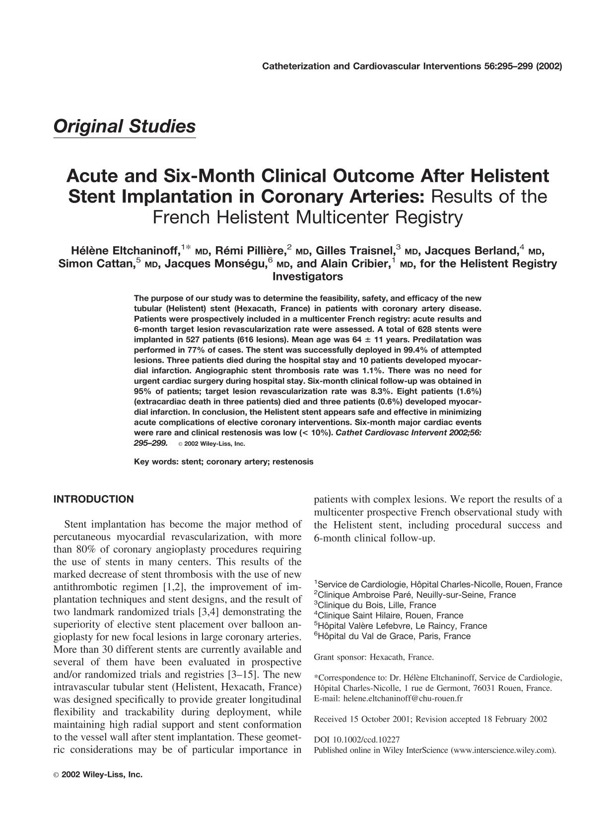 Book cover Acute and six-month clinical outcome after Helistent stent implantation in coronary arteries: Results of the French Helistent multicenter registry