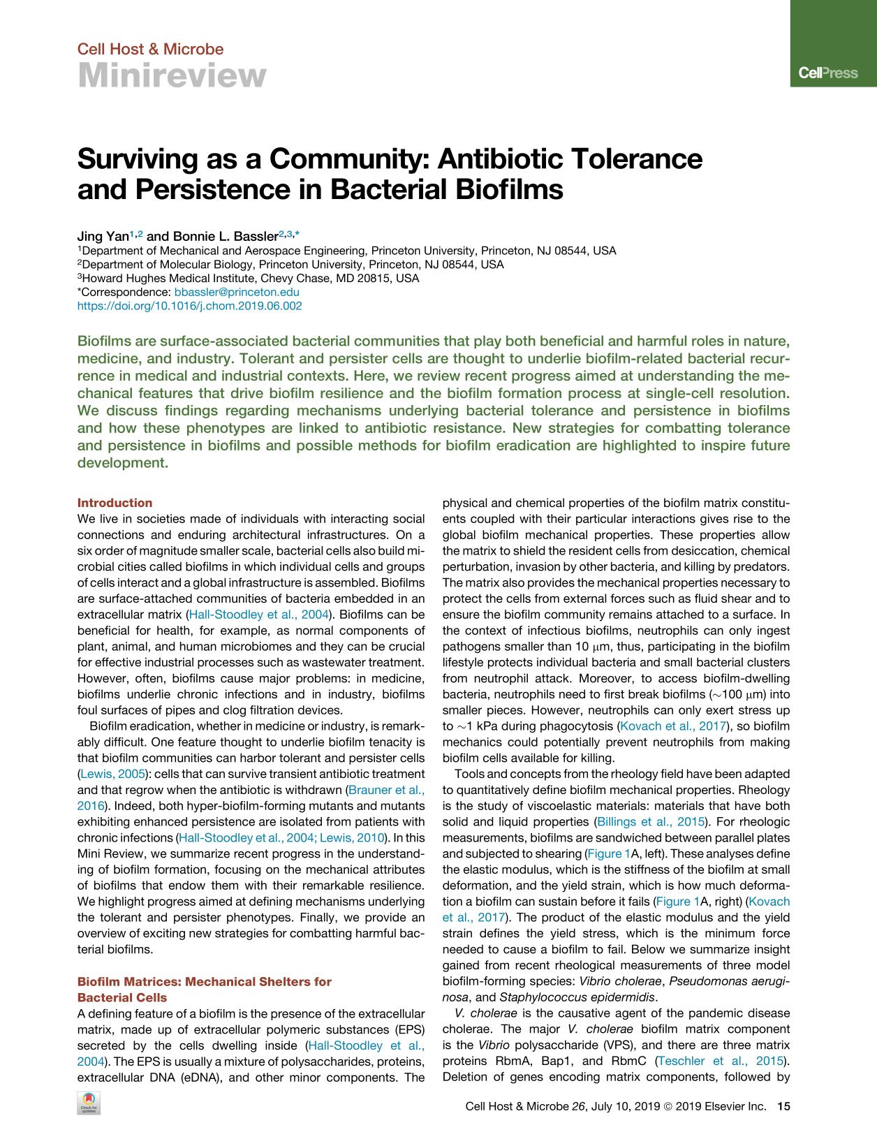 Book cover Surviving as a Community: Antibiotic Tolerance and Persistence in Bacterial Biofilms
