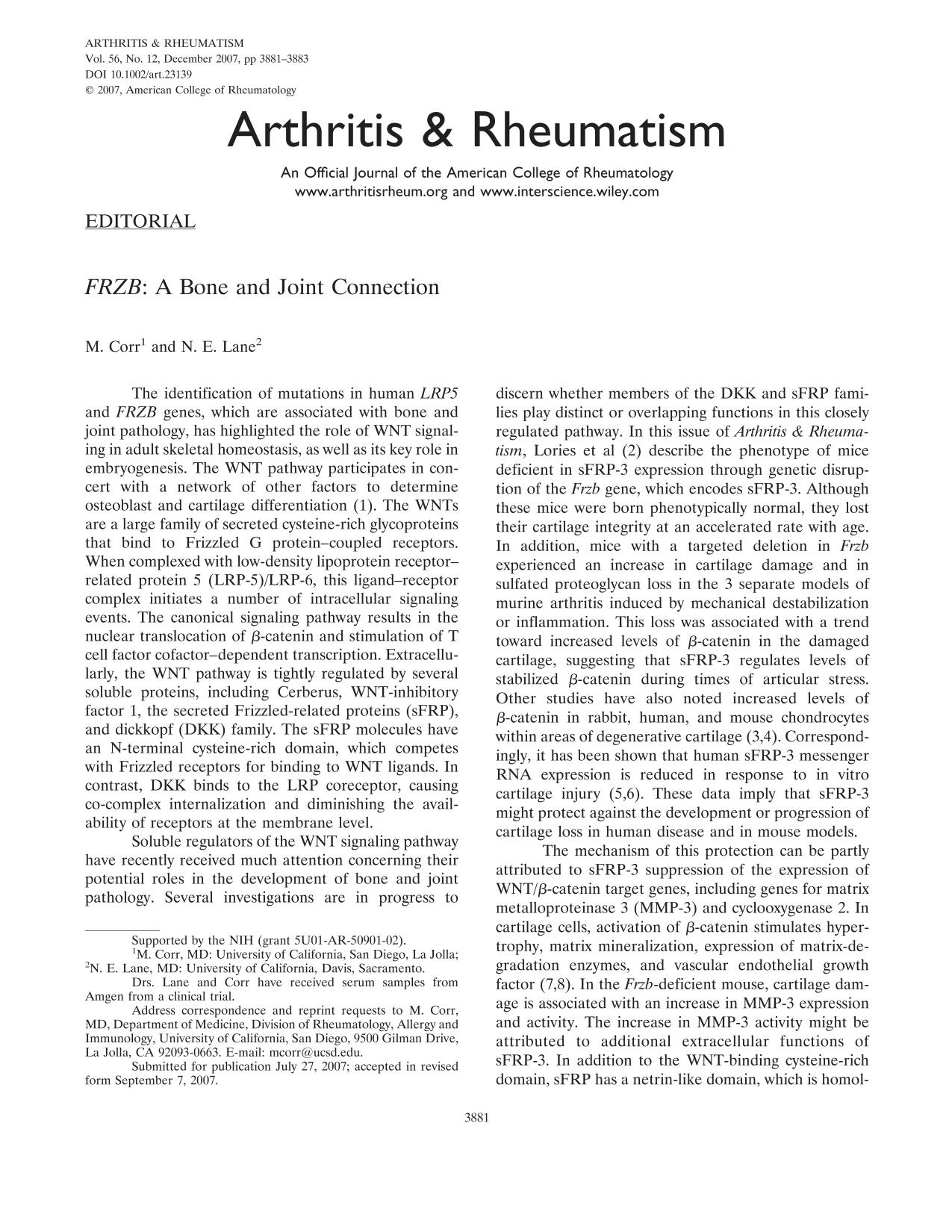 Book cover <em>FRZB</em>: A bone and joint connection
