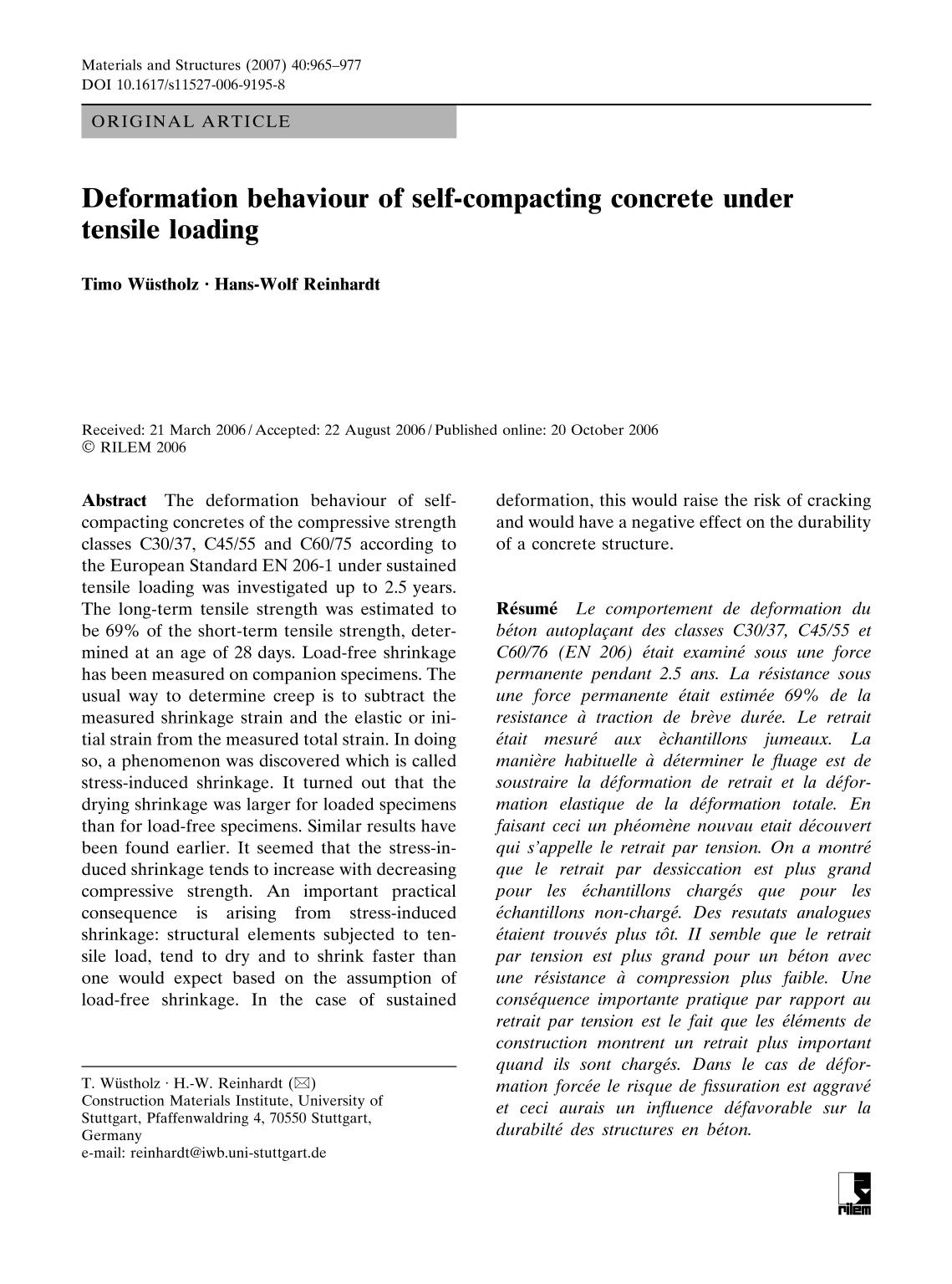 書籍の表紙 Deformation behaviour of self-compacting concrete under tensile loading