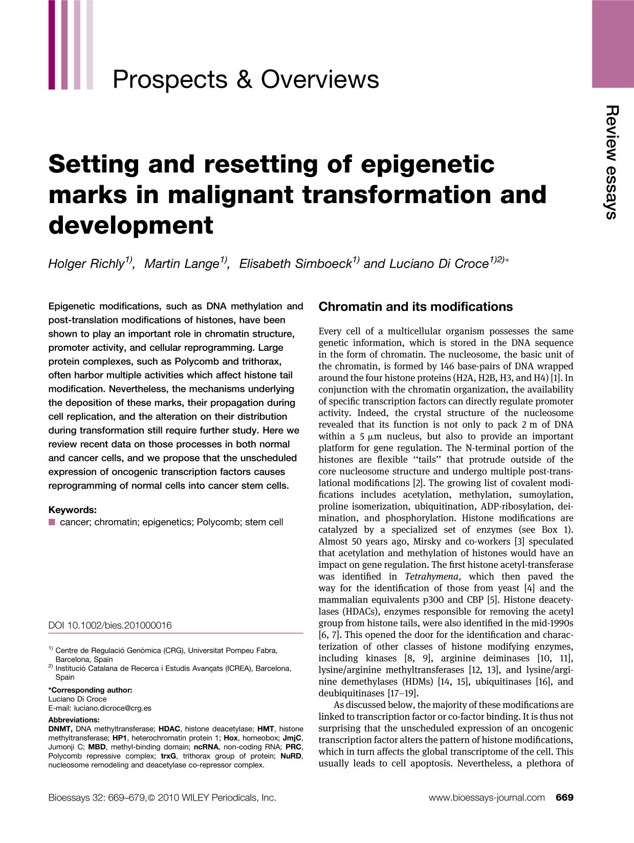 غلاف الكتاب Setting and resetting of epigenetic marks in malignant transformation and development