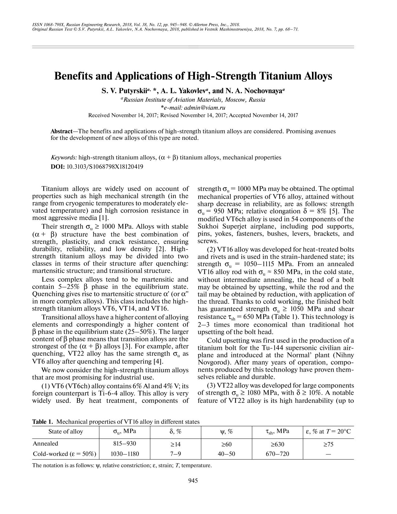 Book cover Benefits and Applications of High-Strength Titanium Alloys