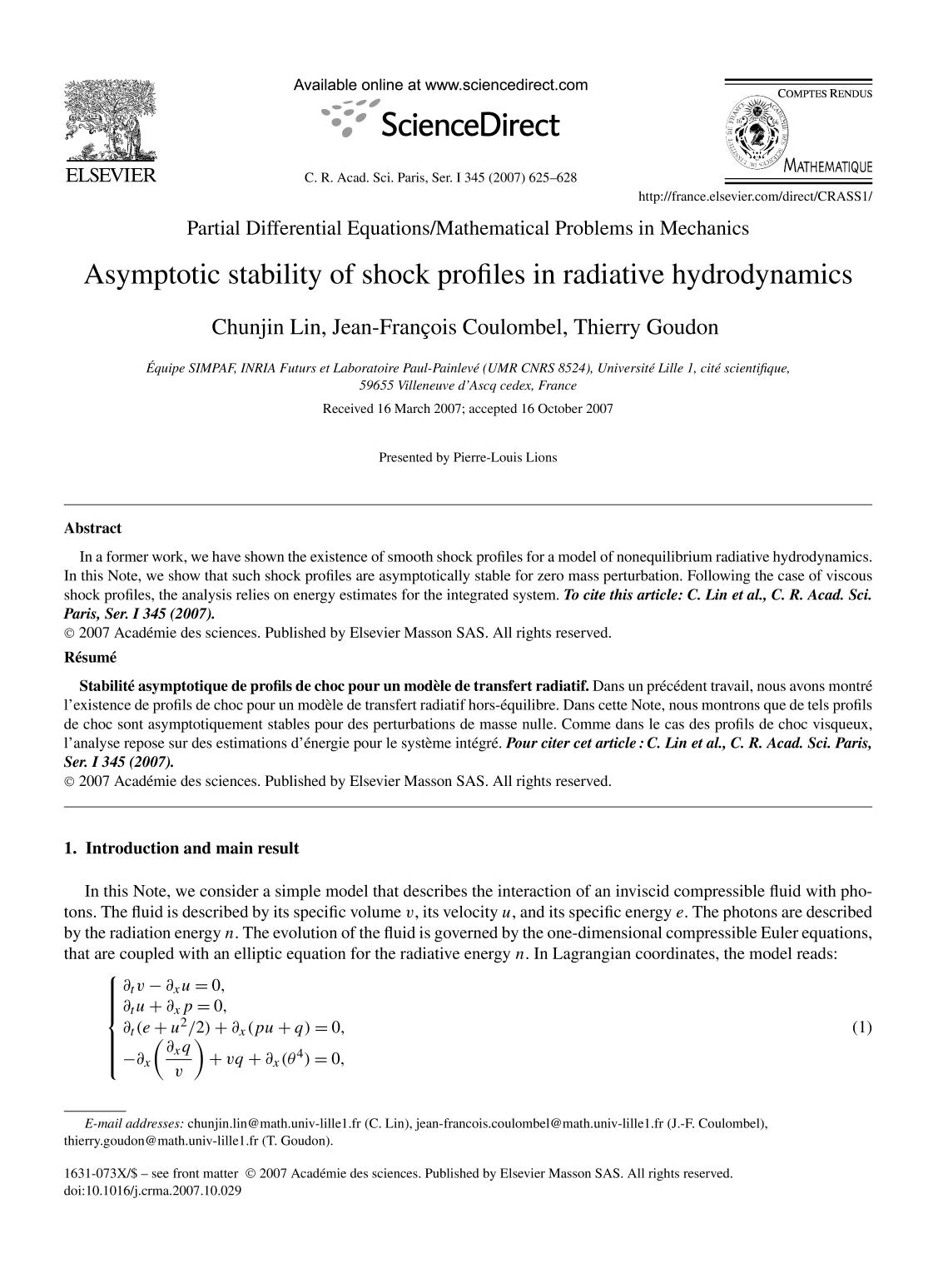 Book cover Asymptotic stability of shock profiles in radiative hydrodynamics