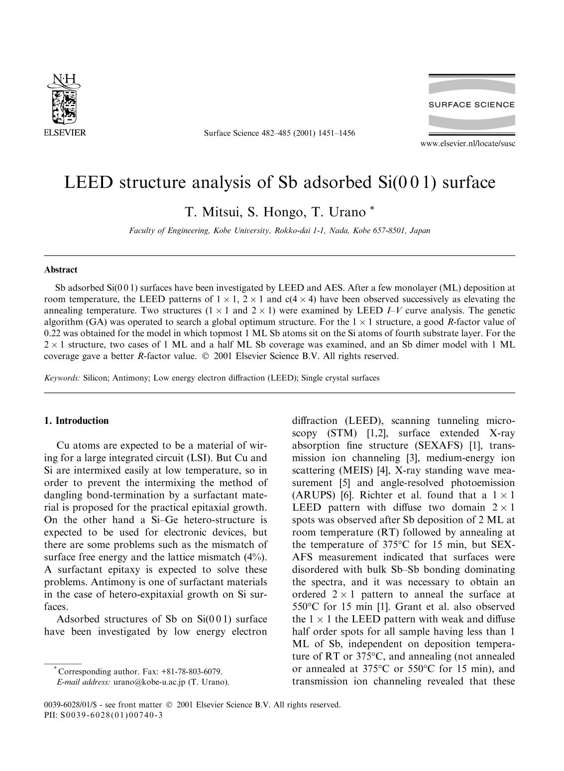 Book cover LEED structure analysis of Sb adsorbed Si(0 0 1) surface