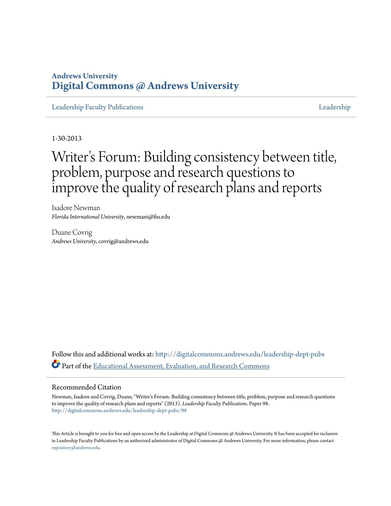 Book cover Writer's Forum: Building consistency between title, problem, purpose and research questions to improve the quality of research plans and reports