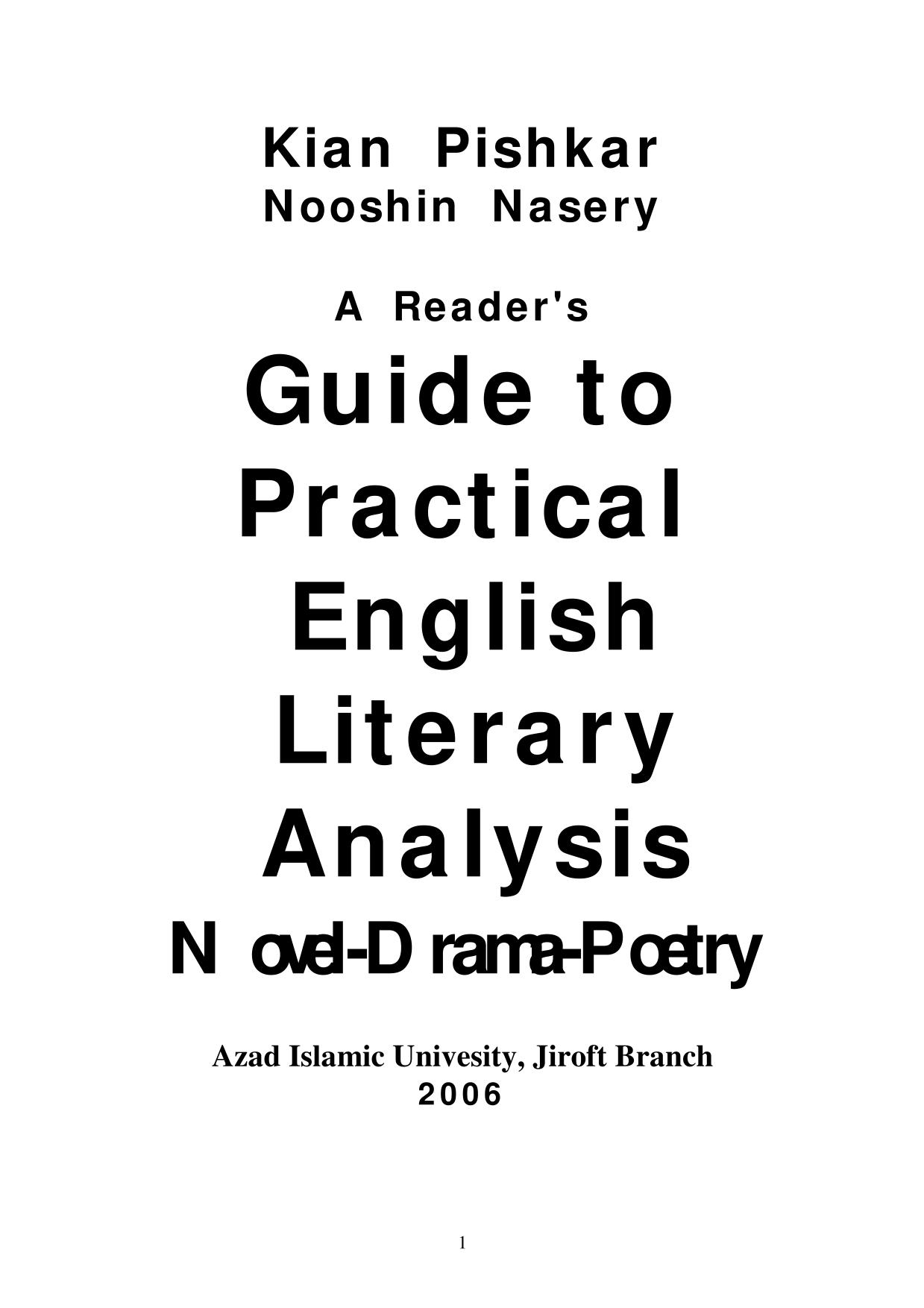Book cover Guide to Practical English Literary Analysis