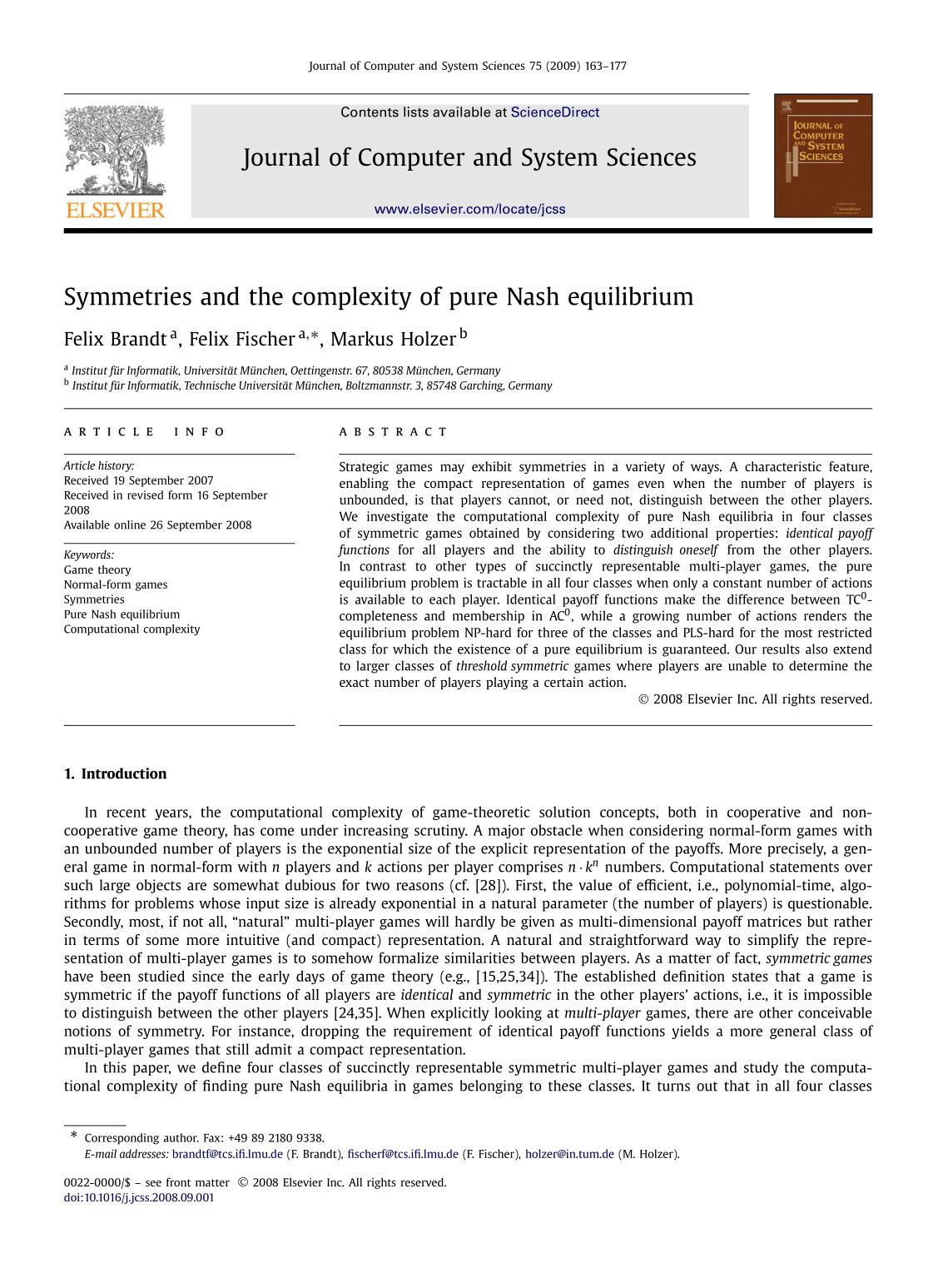 Sampul buku Symmetries and the complexity of pure Nash equilibrium
