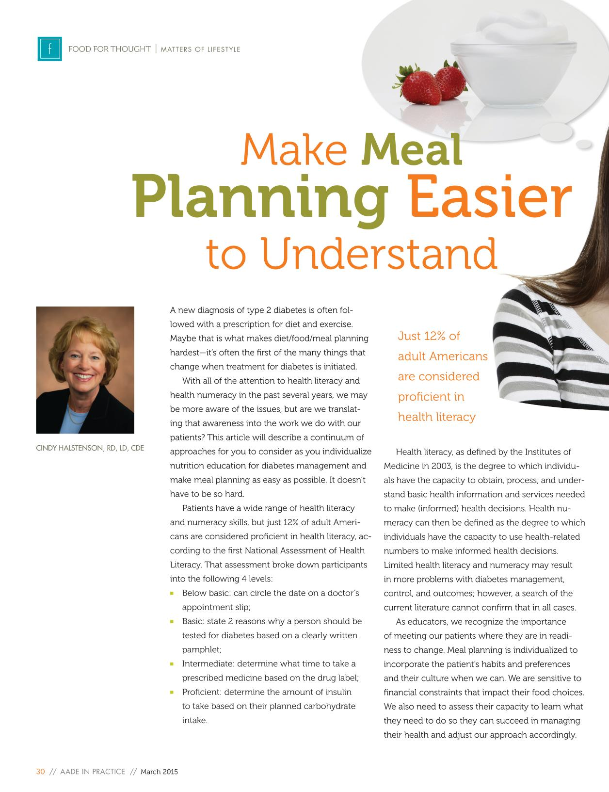 Book cover Make Meal Planning Easier to Understand