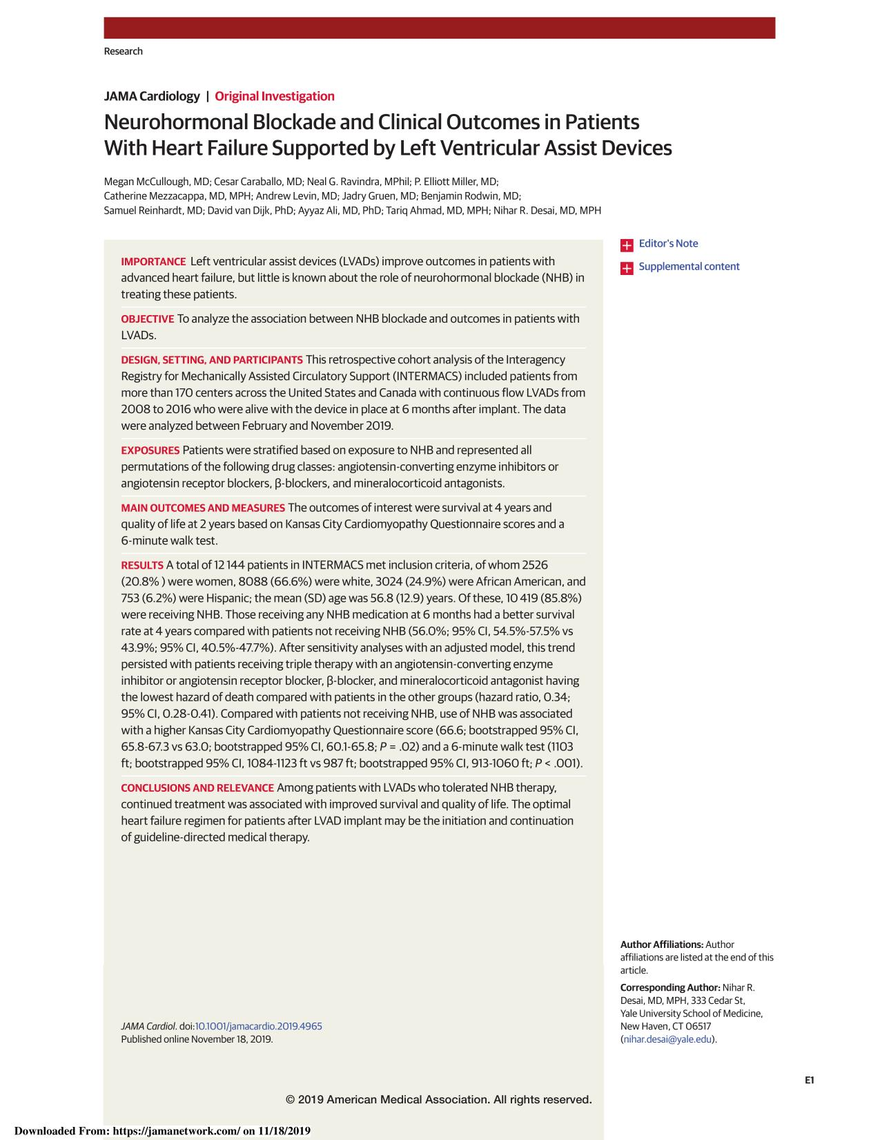 Обложка книги Neurohormonal Blockade and Clinical Outcomes in Patients With Heart Failure Supported by Left Ventricular Assist Devices