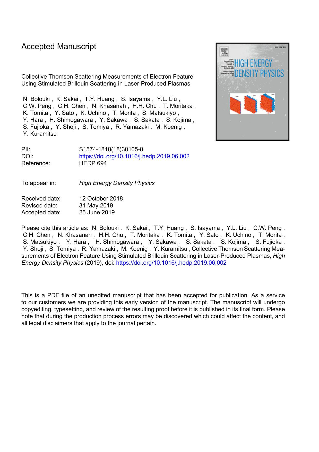 Book cover Collective Thomson Scattering Measurements of Electron Feature Using Stimulated Brillouin Scattering in Laser-Produced Plasmas