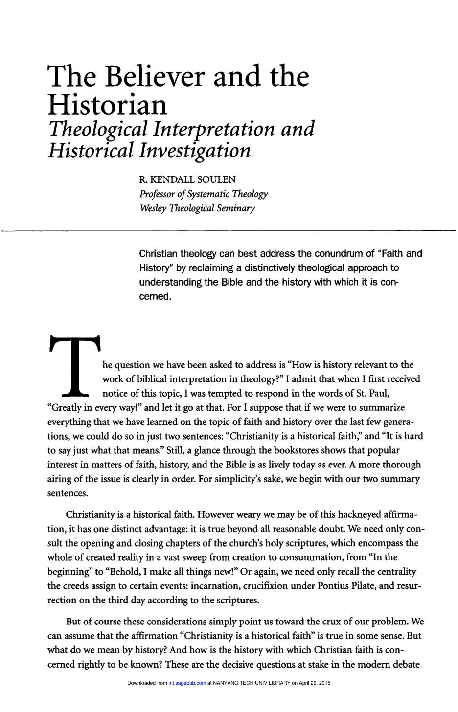 Kulit buku The Believer and the Historian: Theological Interpretation and Historical Investigation