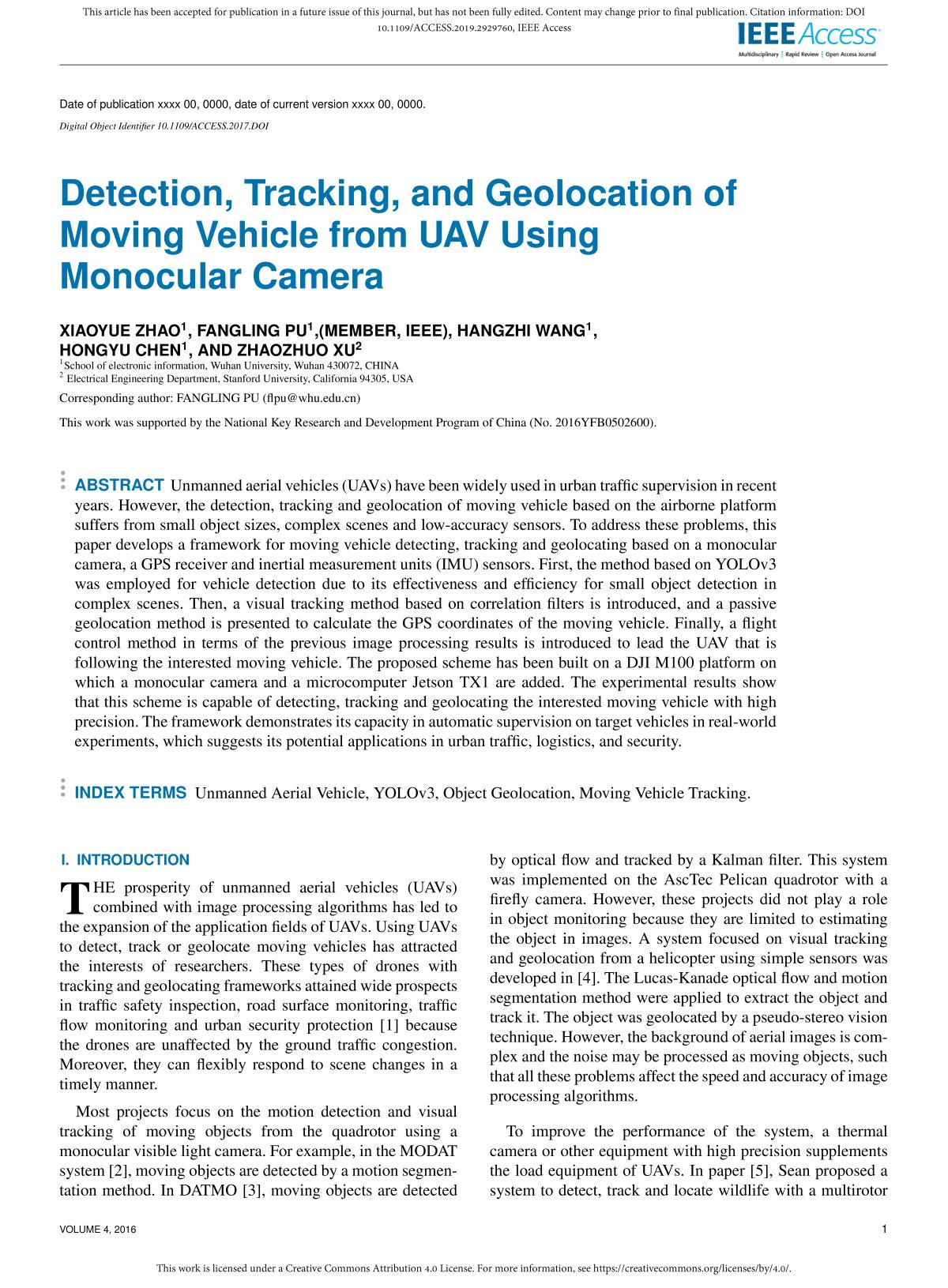Buchdeckel Detection, Tracking, and Geolocation of Moving Vehicle from UAV Using Monocular Camera