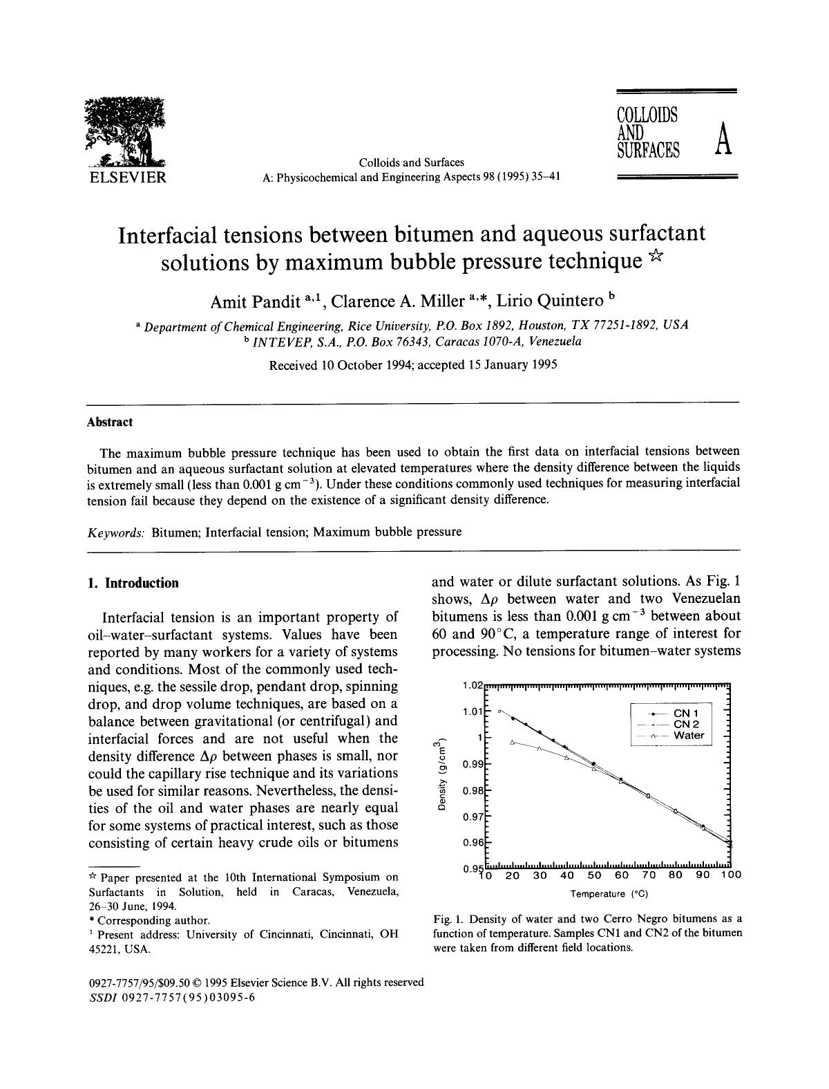 Εξώφυλλο βιβλίου Interfacial tensions between bitumen and aqueous surfactant solutions by maximum bubble pressure technique