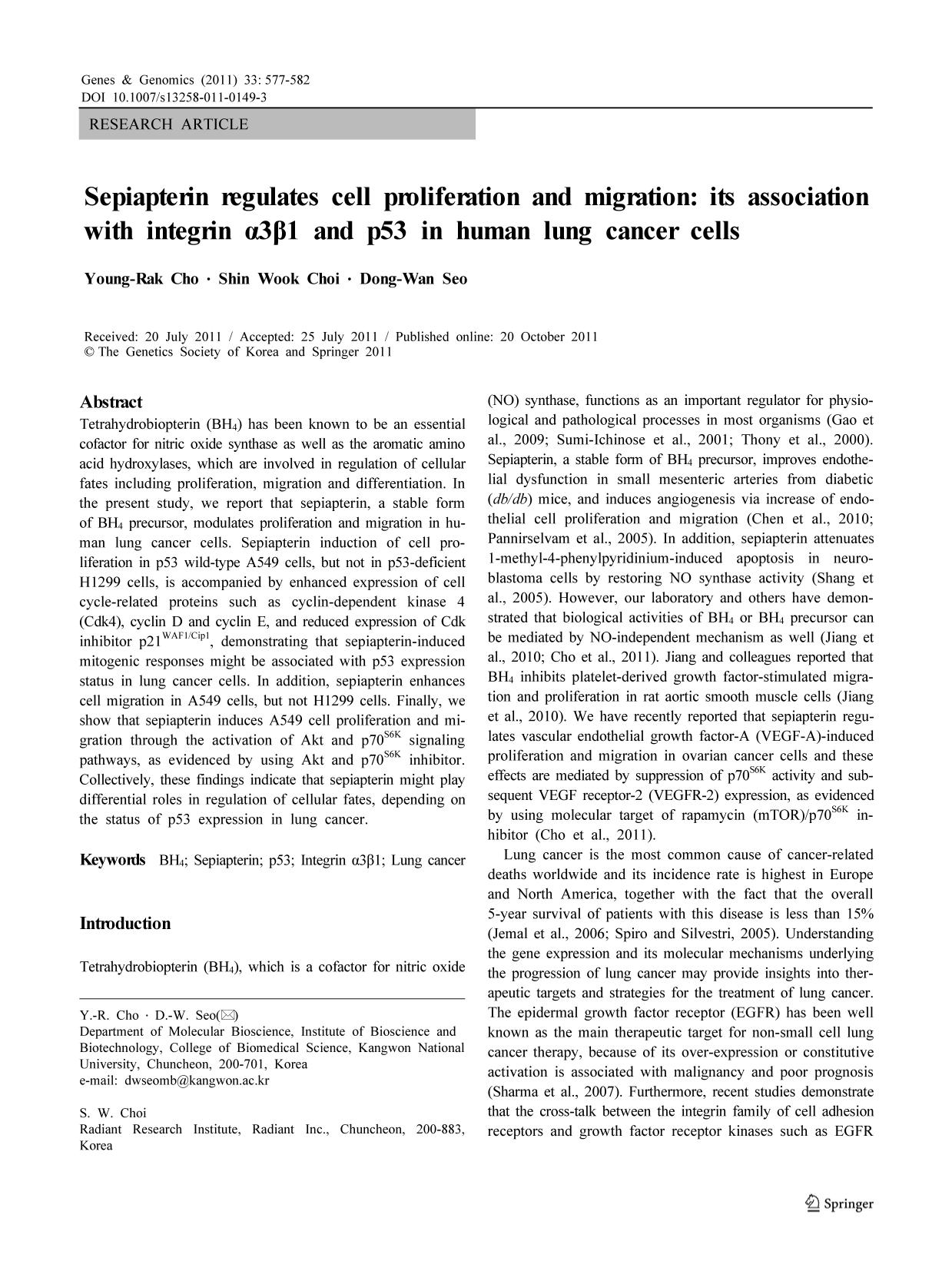 Portada del libro Sepiapterin regulates cell proliferation and migration: its association with integrin α3β1 and p53 in human lung cancer cells