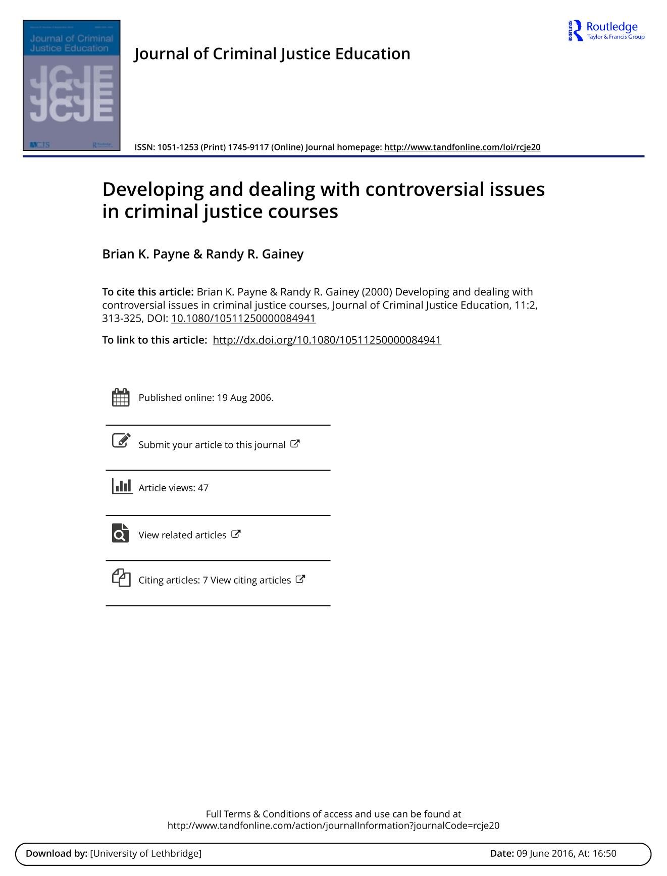 Portada del libro Developing and dealing with controversial issues in criminal justice courses
